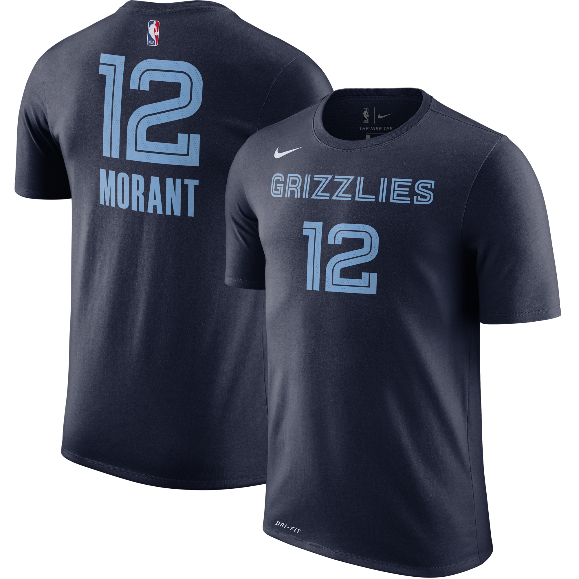 Ja Morant Memphis Grizzlies Nike Icon Name & Number Performance T-Shirt - Navy