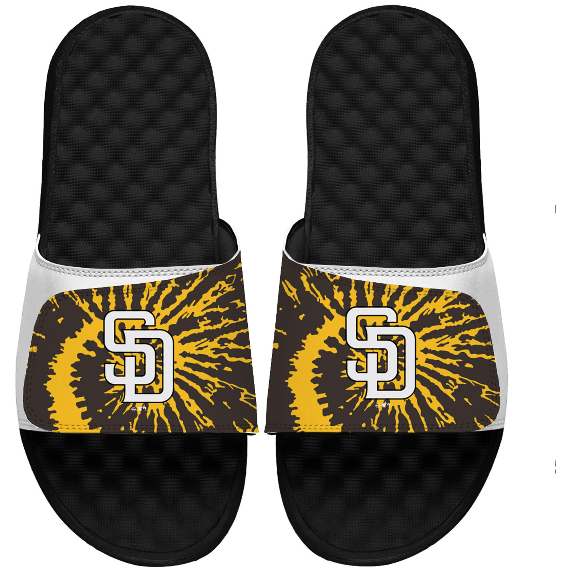 San Diego Padres ISlide Youth Tie Dye Slide Sandals - White/Black