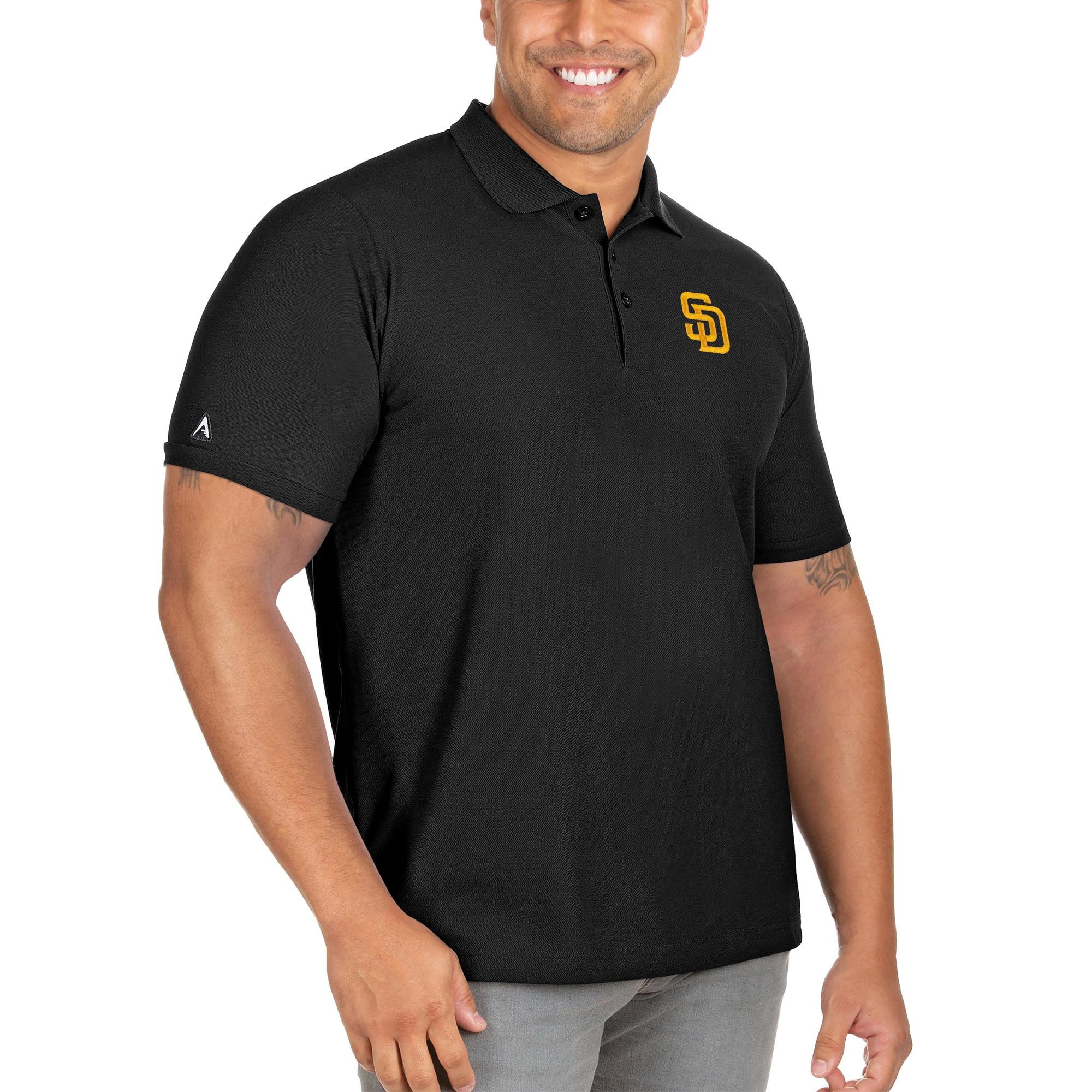 San Diego Padres Antigua Big & Tall Legacy Pique Polo - Black