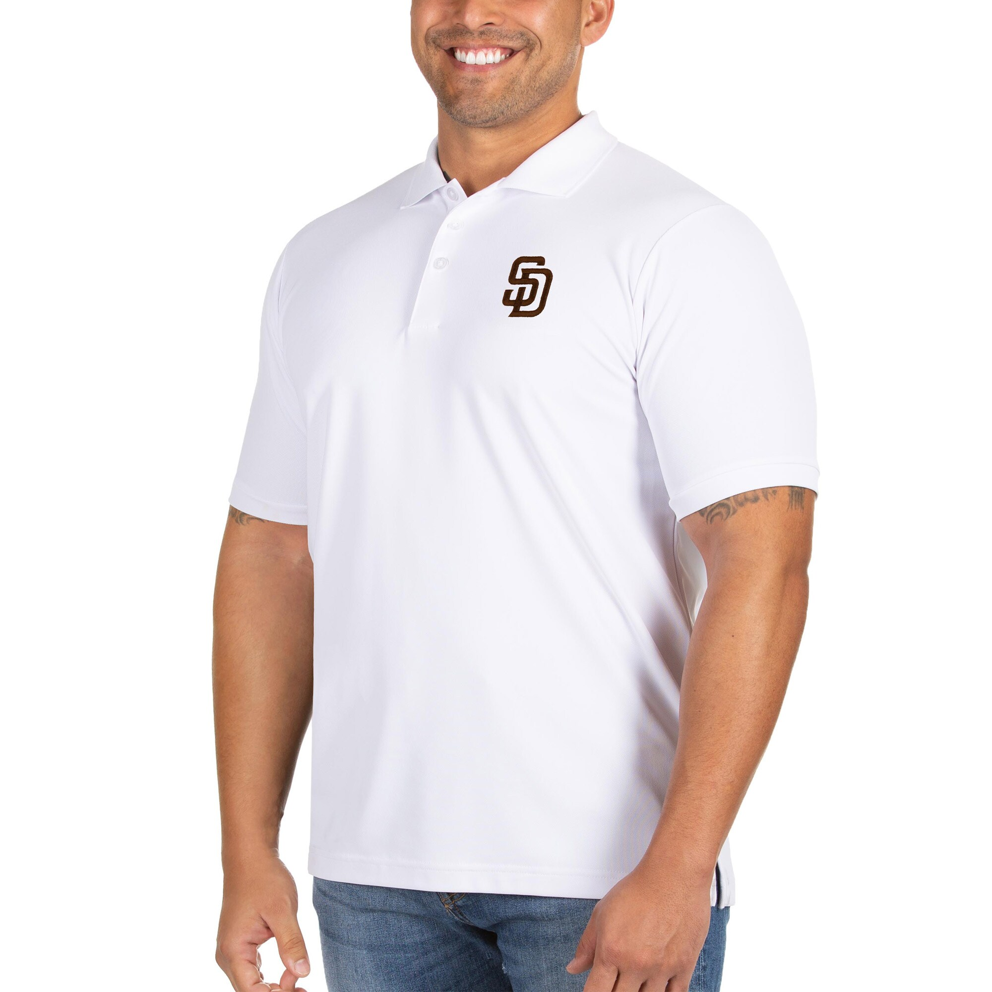 San Diego Padres Antigua Big & Tall Legacy Pique Polo - White