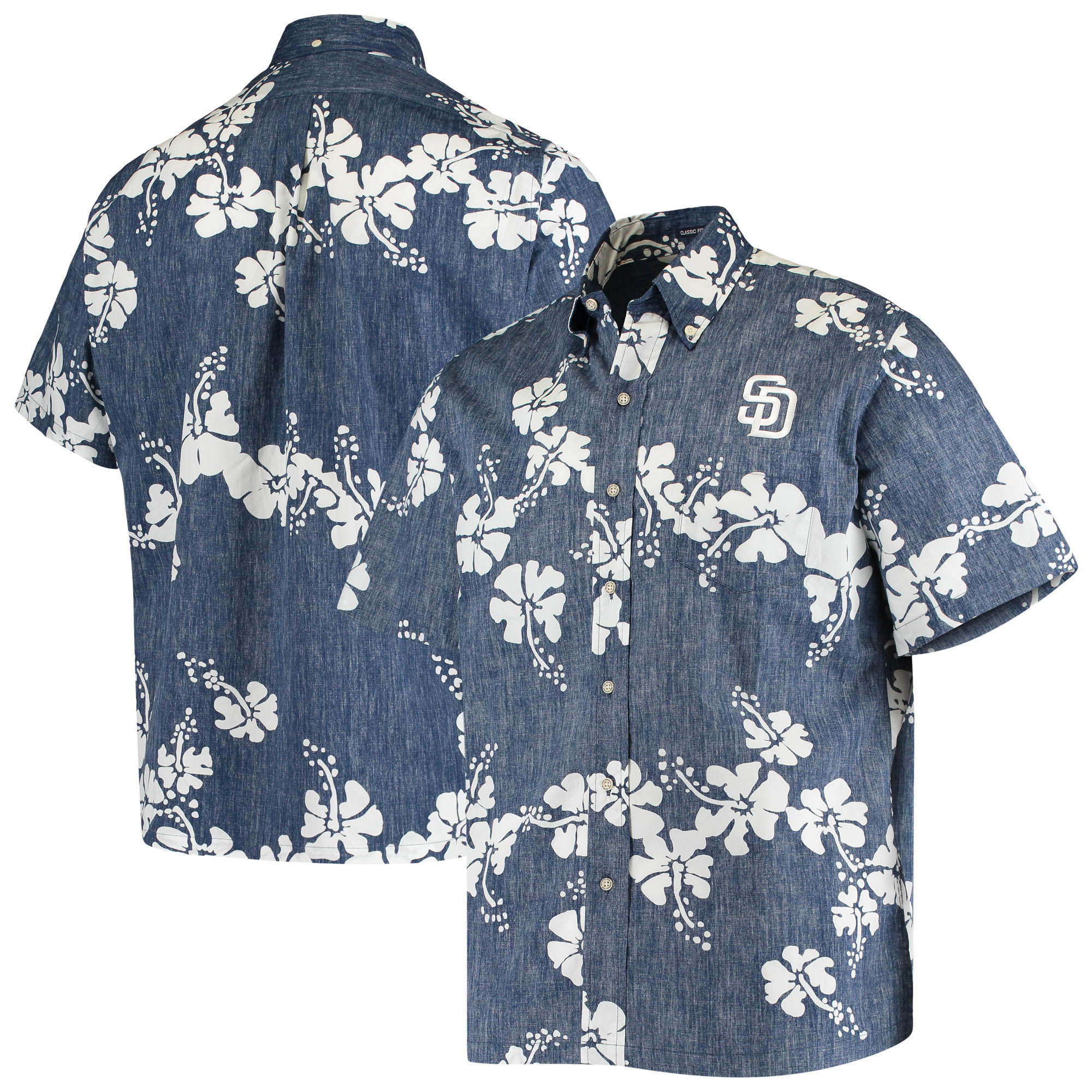 San Diego Padres Reyn Spooner 50th State Button-Down Shirt - Heathered Navy