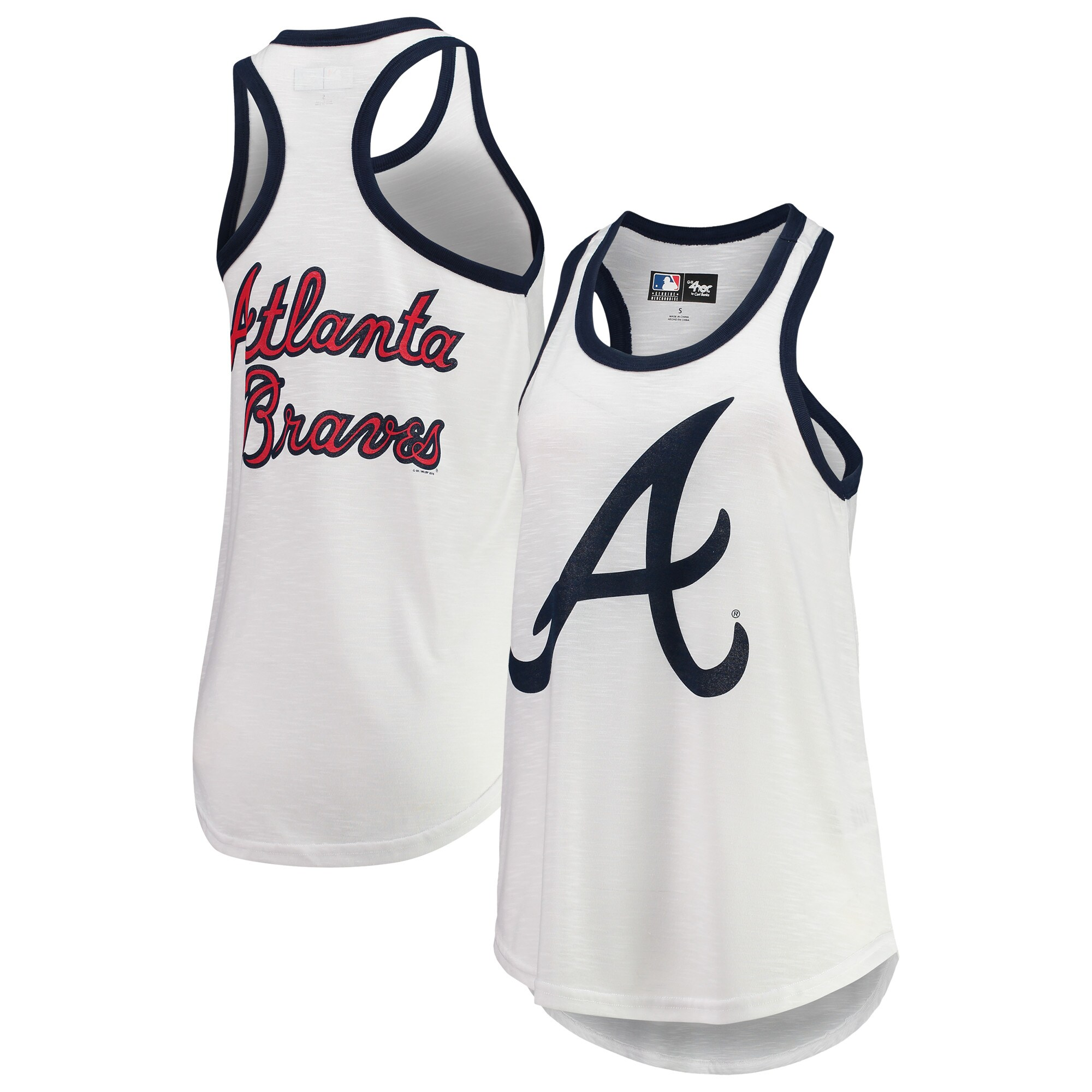 Atlanta Braves G-III 4Her by Carl Banks Women's Tater Racerback Tank Top - White