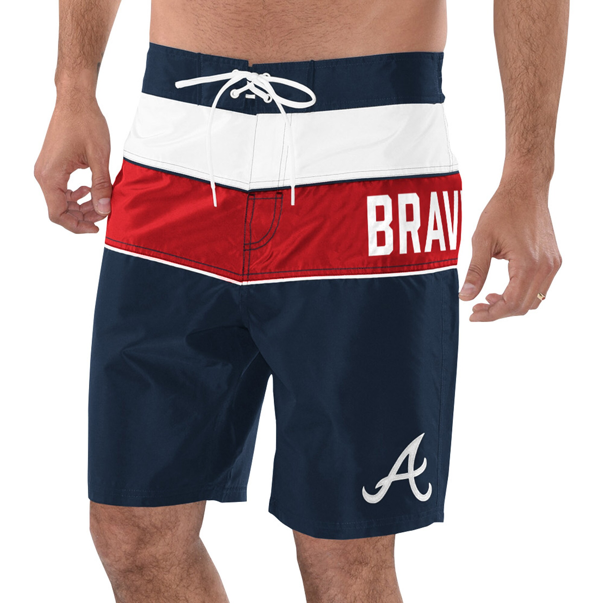 Atlanta Braves G-III Sports by Carl Banks All Star Swim Trunks - Navy/Red