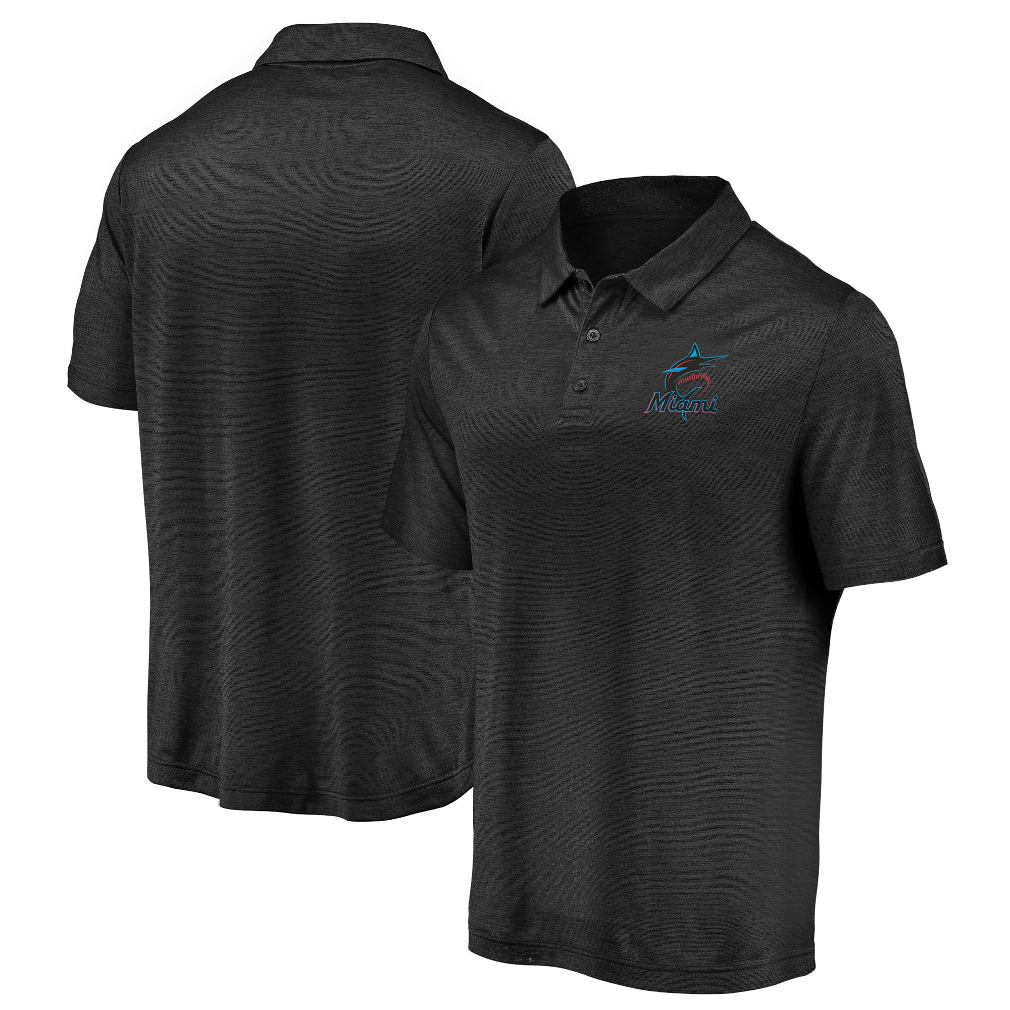 Miami Marlins Fanatics Branded Iconic Striated Primary Logo Polo - Black