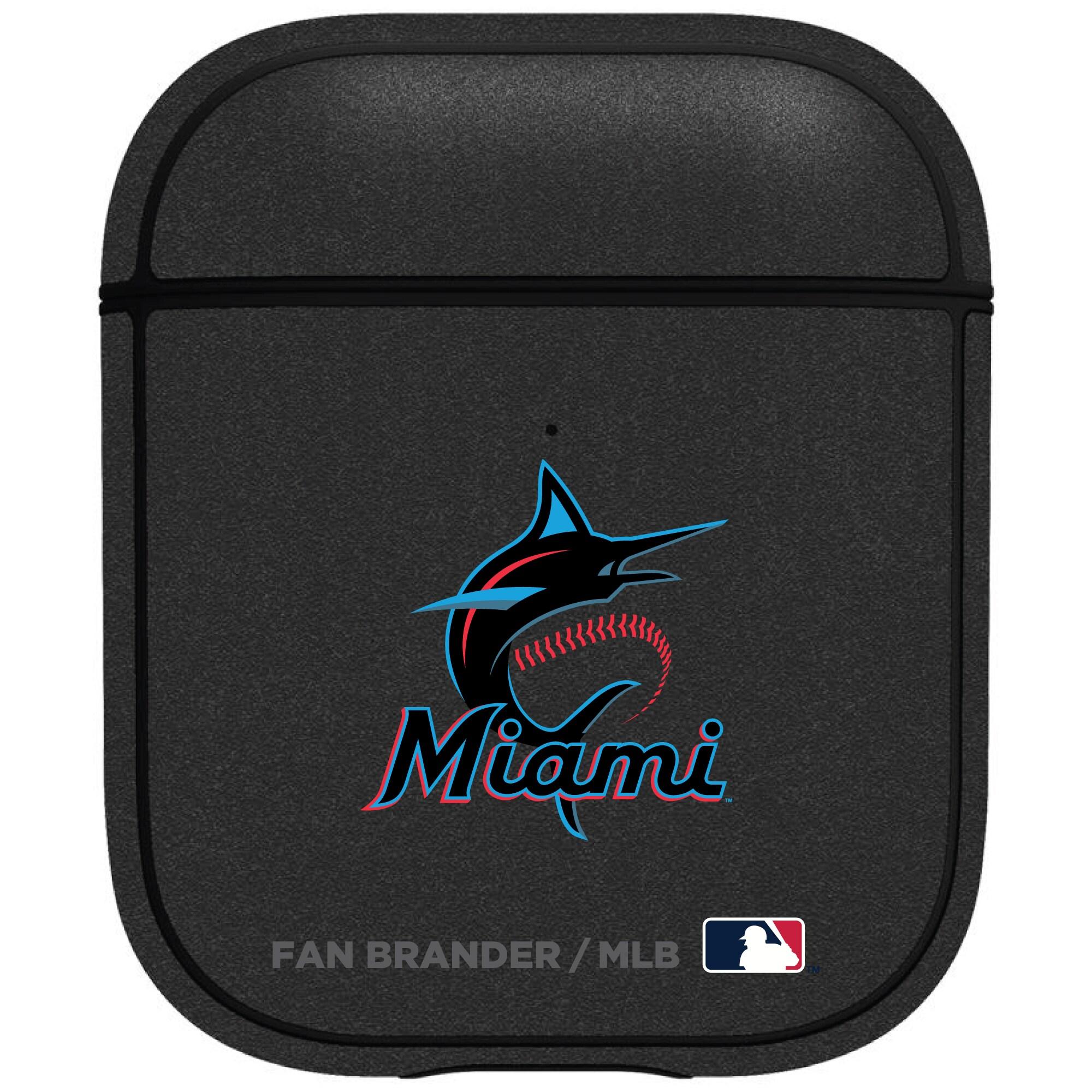 Miami Marlins Air Pods Metallic Case - Black