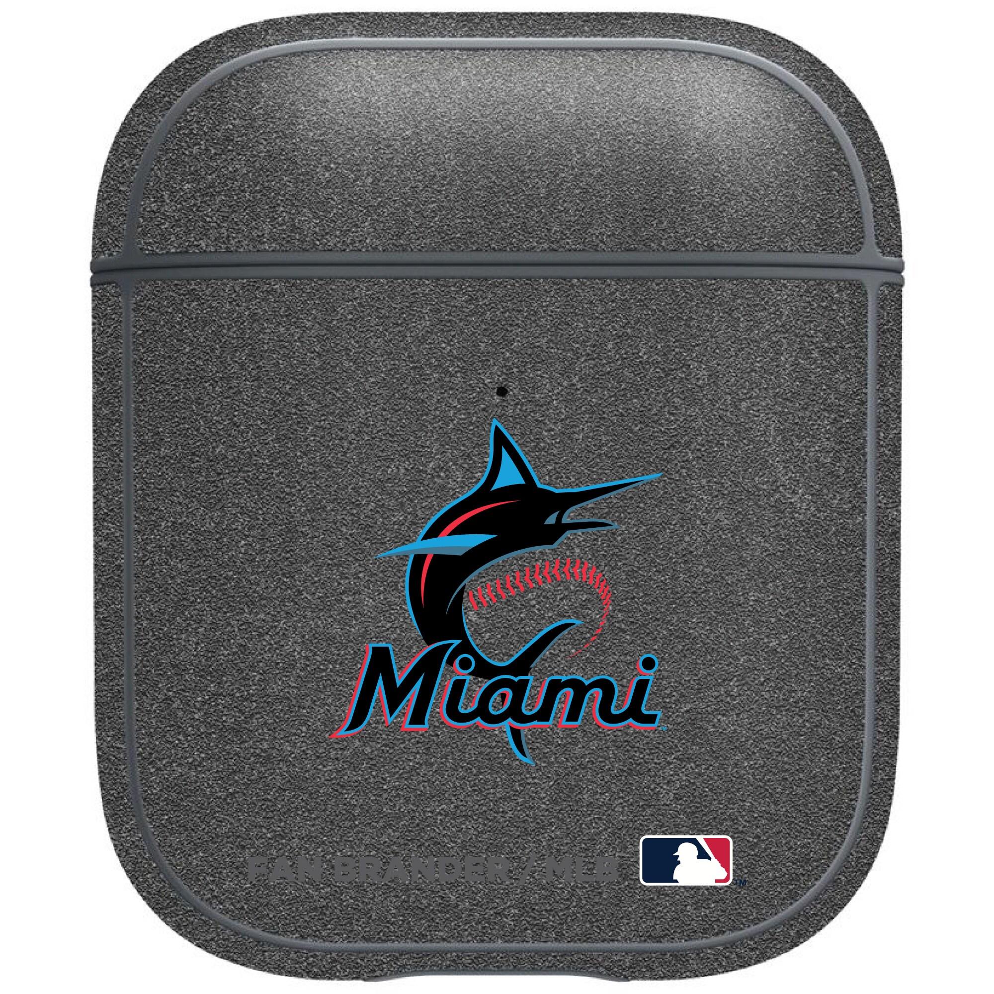Miami Marlins Air Pods Metallic Case - Gray