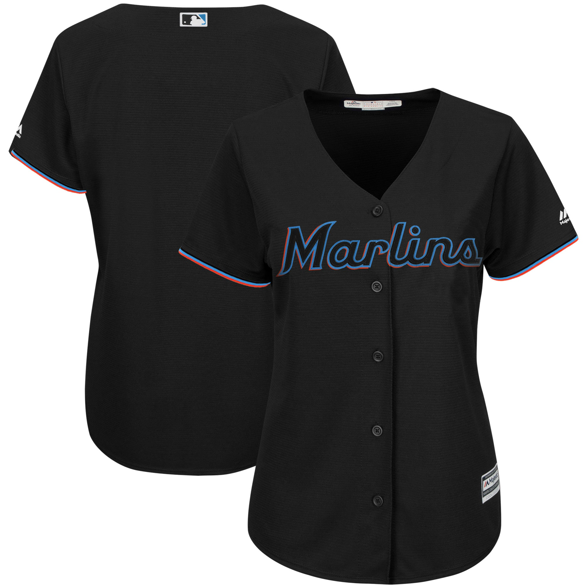 Miami Marlins Majestic Women's Alternate Team Cool Base Jersey - Black