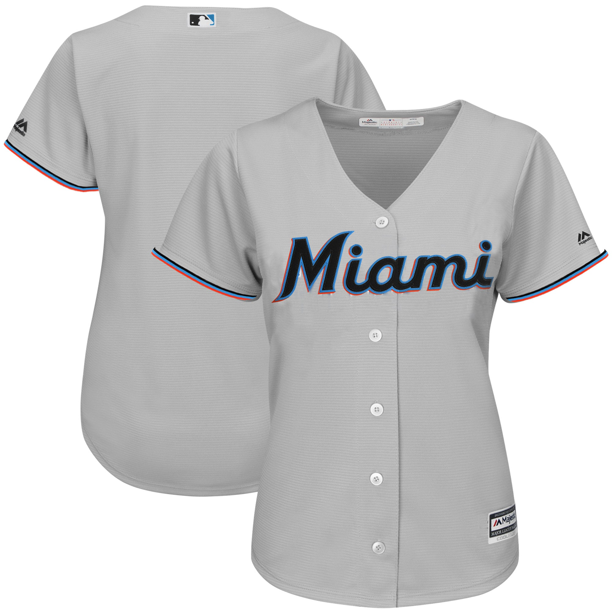 Miami Marlins Majestic Women's Road Team Cool Base Jersey - Gray