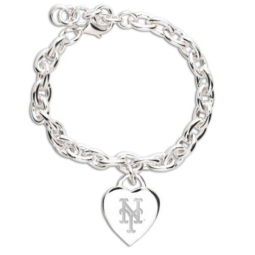 New York Mets WinCraft Women's Heart Charm Bracelet - Silver