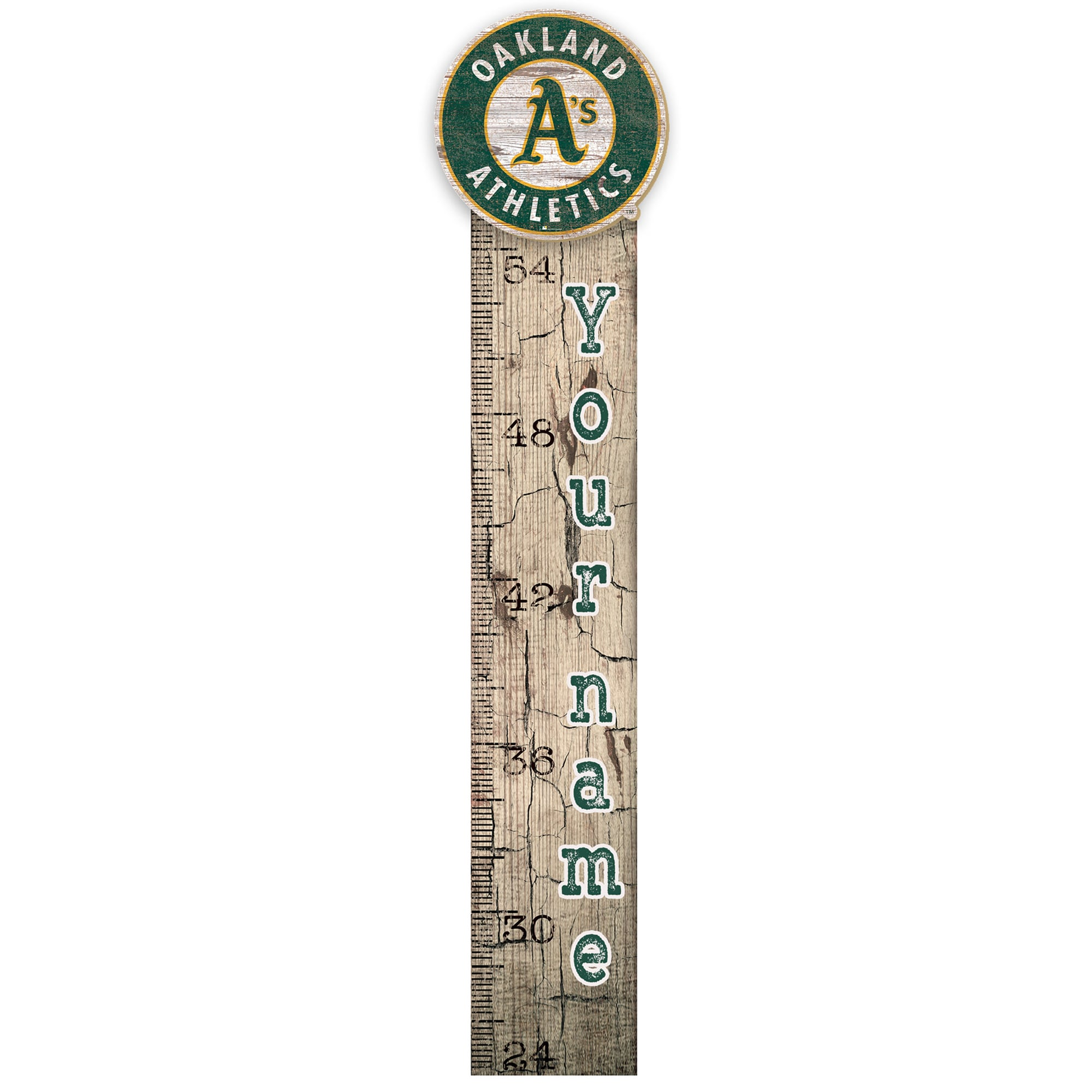 """Oakland Athletics 6"""" x 36"""" Personalized Growth Chart Sign"""