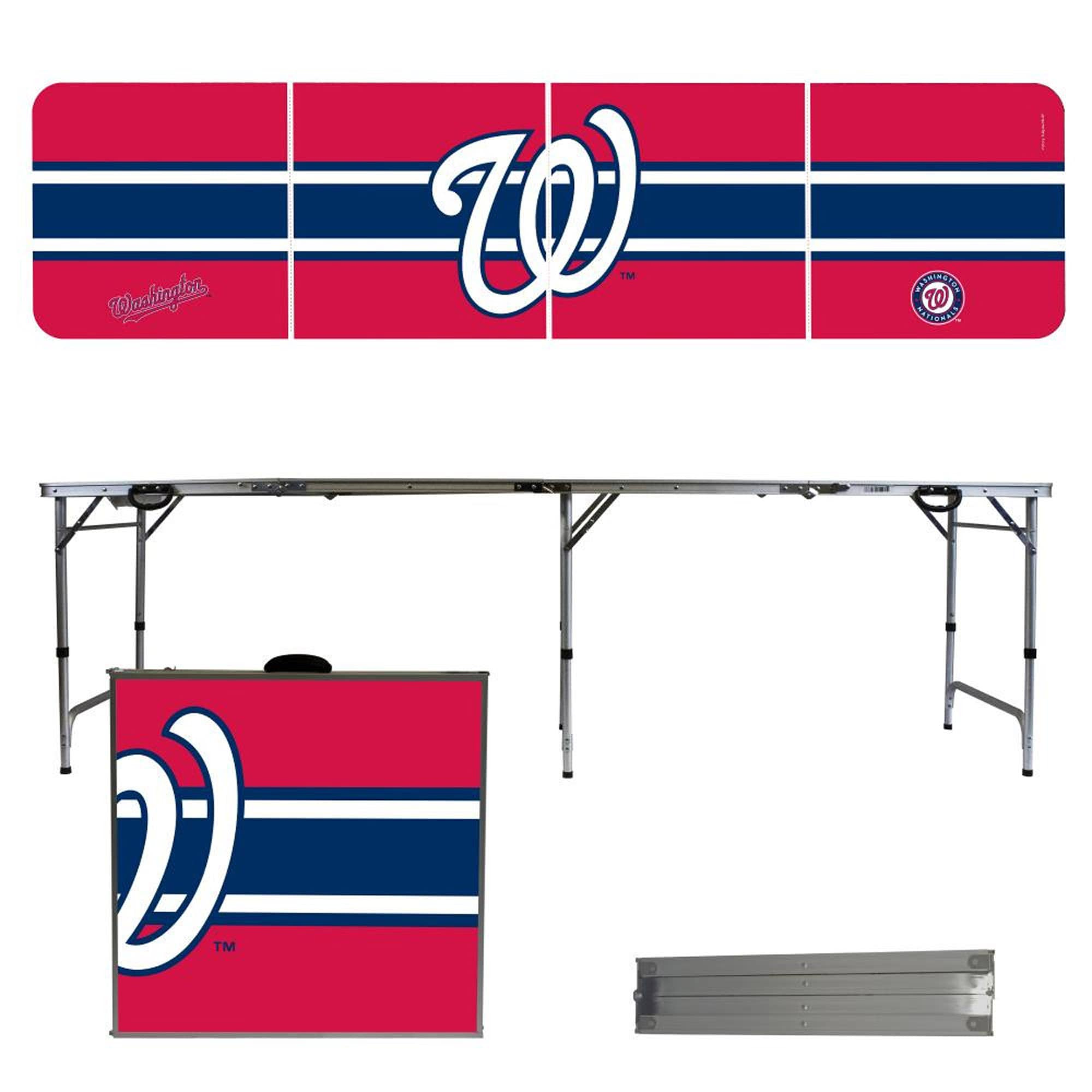 Washington Nationals Striped Design 8' Portable Folding Tailgate Table