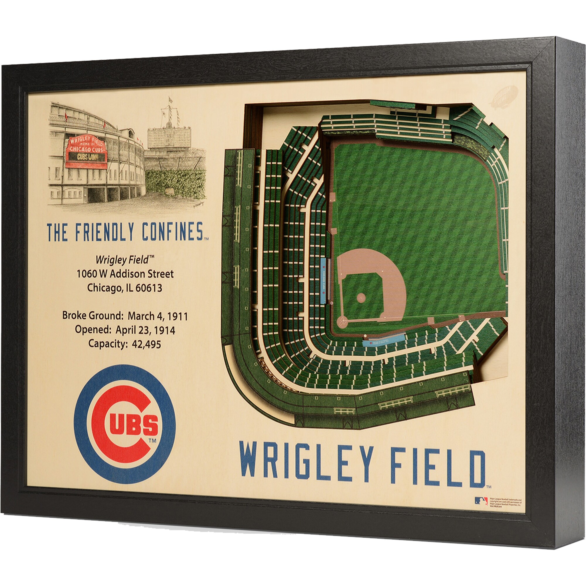 """Chicago Cubs 25.5"""" x 19.5"""" Wrigley Field Stadium Views Wall Art"""