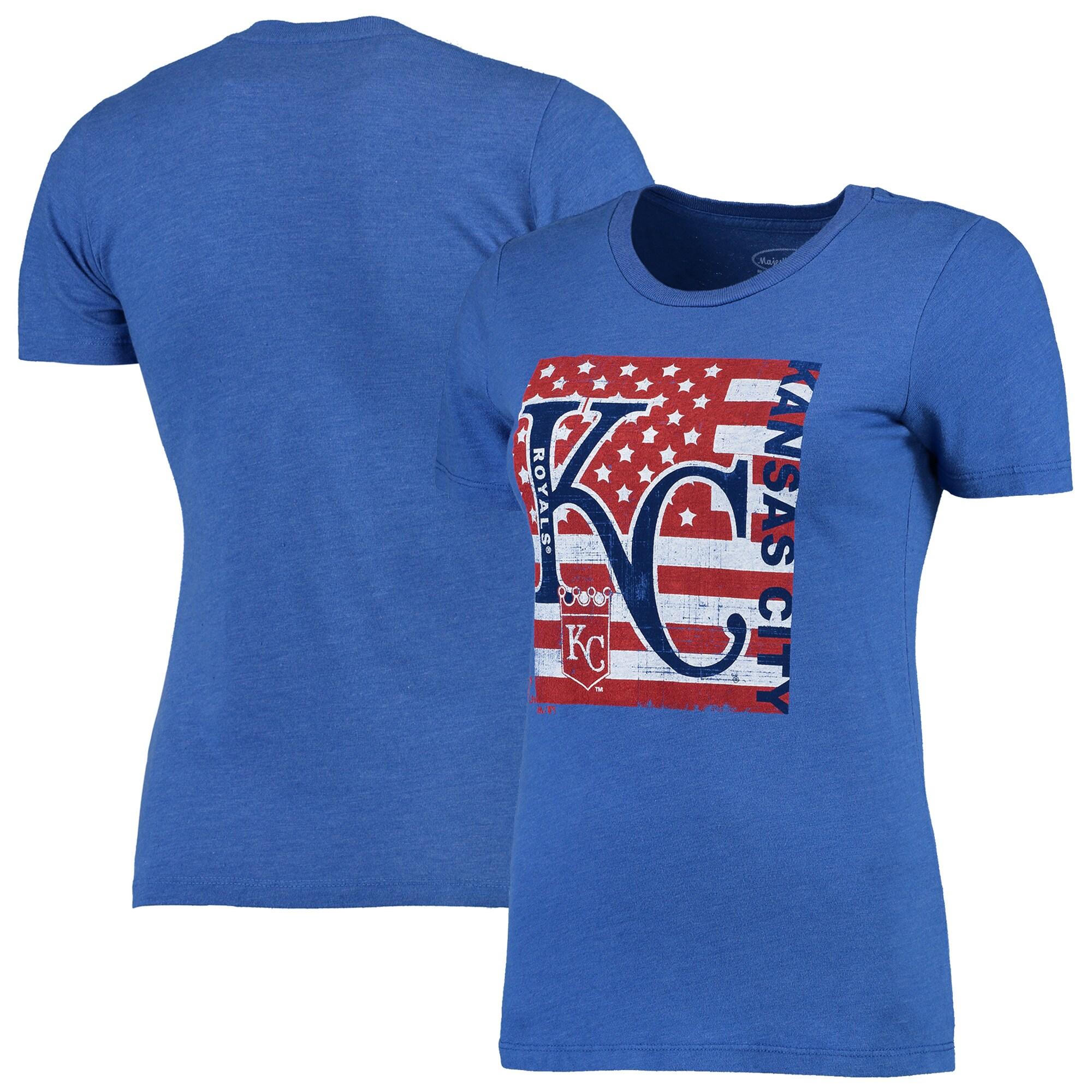 Kansas City Royals Majestic Threads Women's Stars & Stripes Flag T-Shirt - Royal