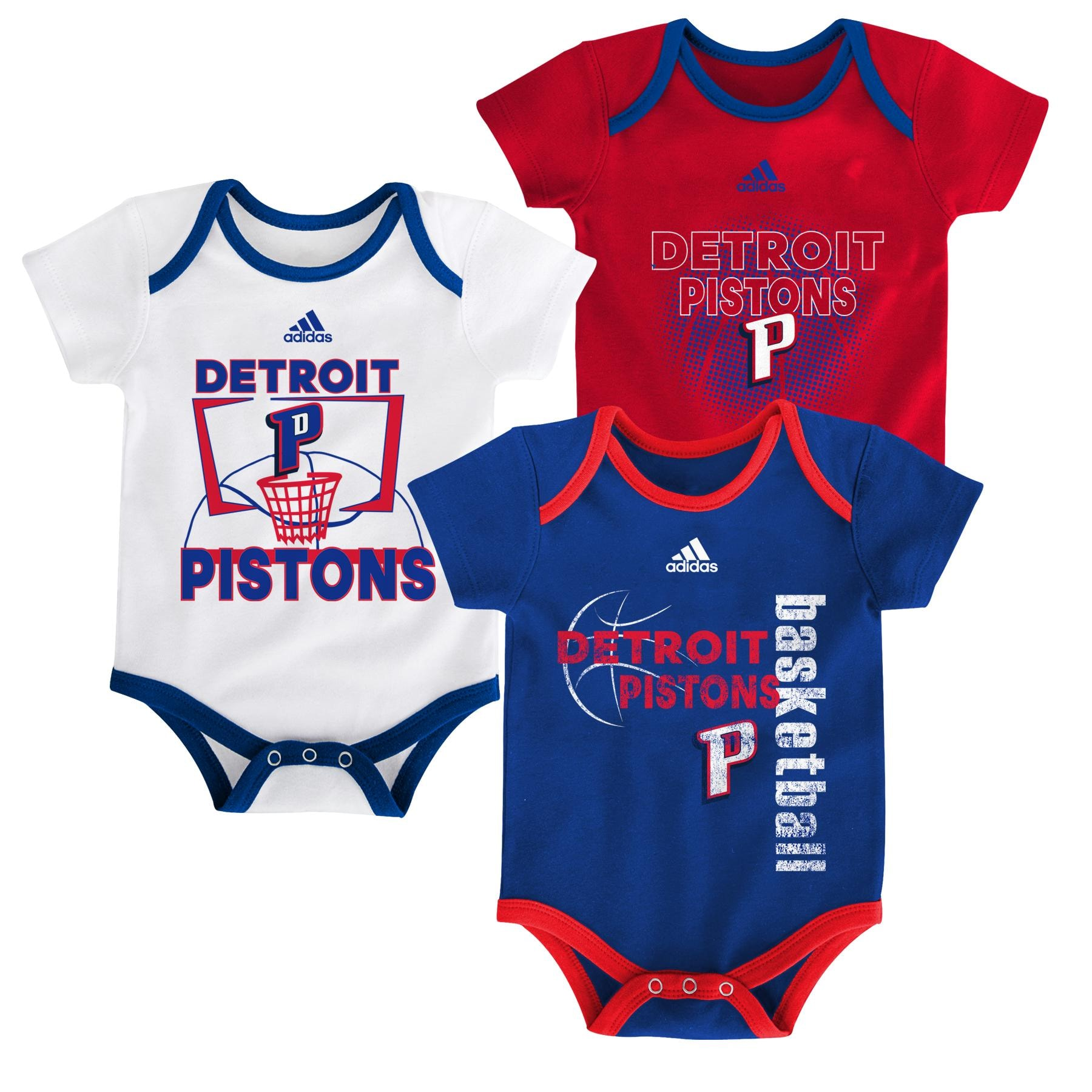Aflojar Ídolo Chicle  Detroit Pistons adidas Newborn & Infant 3-Point Bodysuit Set -  Blue/Red/White - Gear Up For Sports