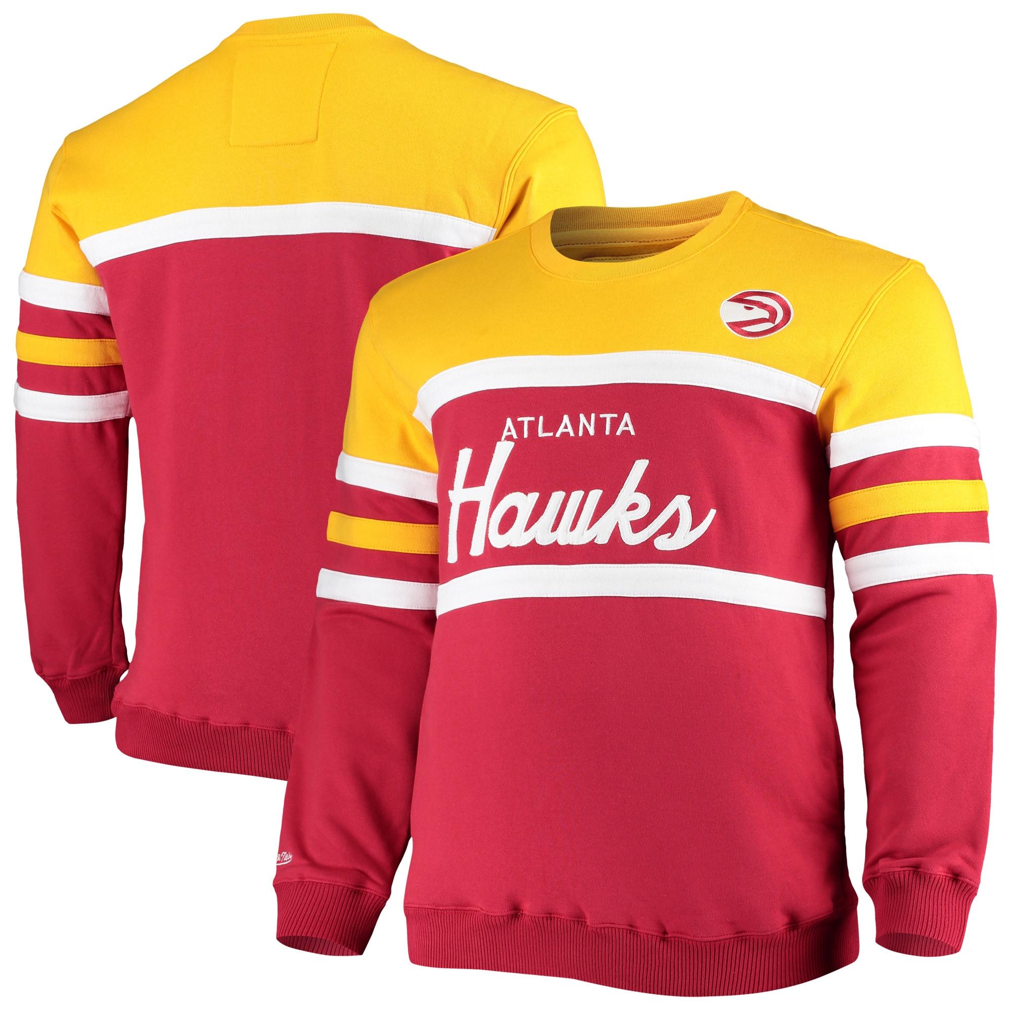 Atlanta Hawks Mitchell & Ness Big & Tall Hardwood Classics Head Coach Pullover Sweatshirt - Red