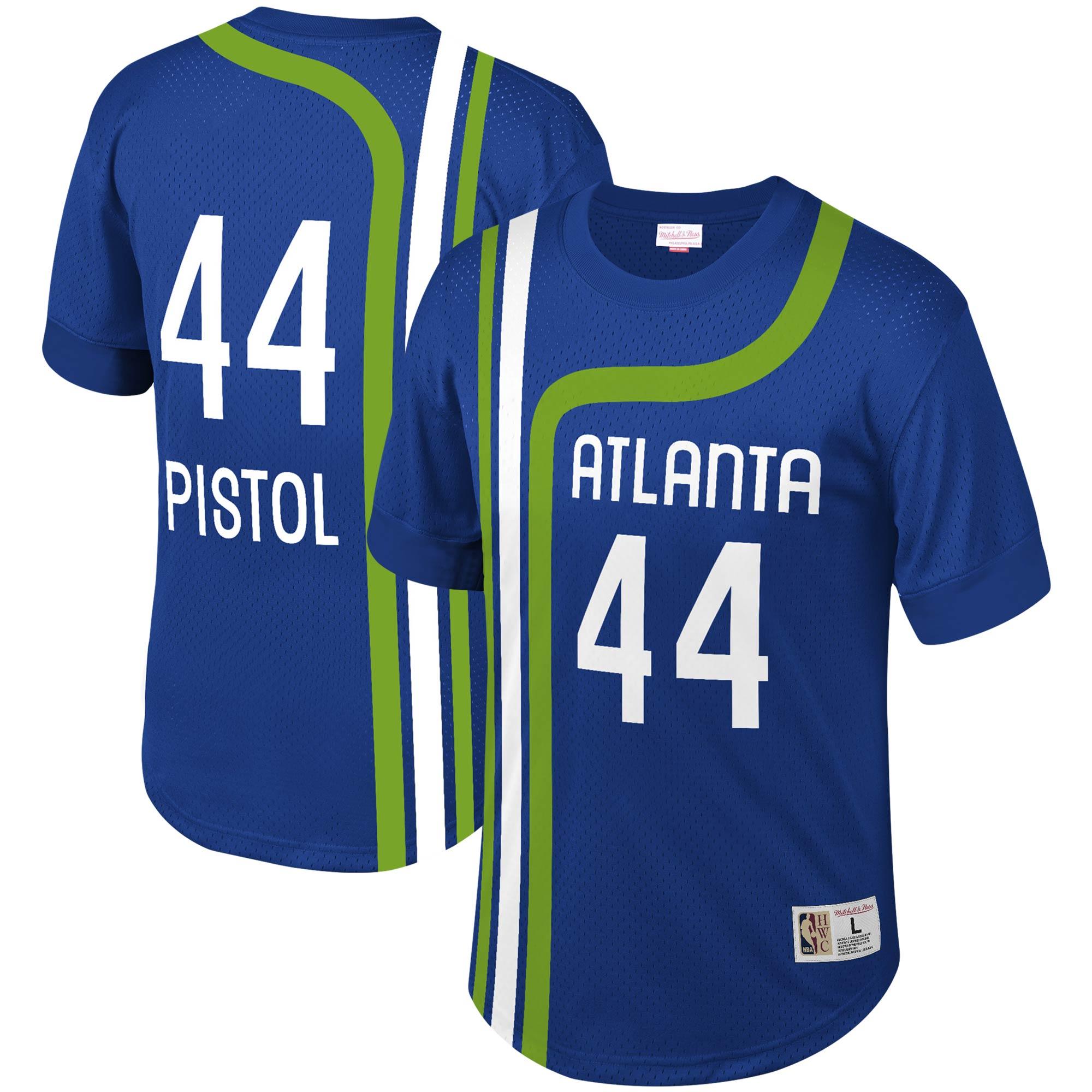Pete Maravich Atlanta Hawks Mitchell & Ness Mesh T-Shirt - Royal