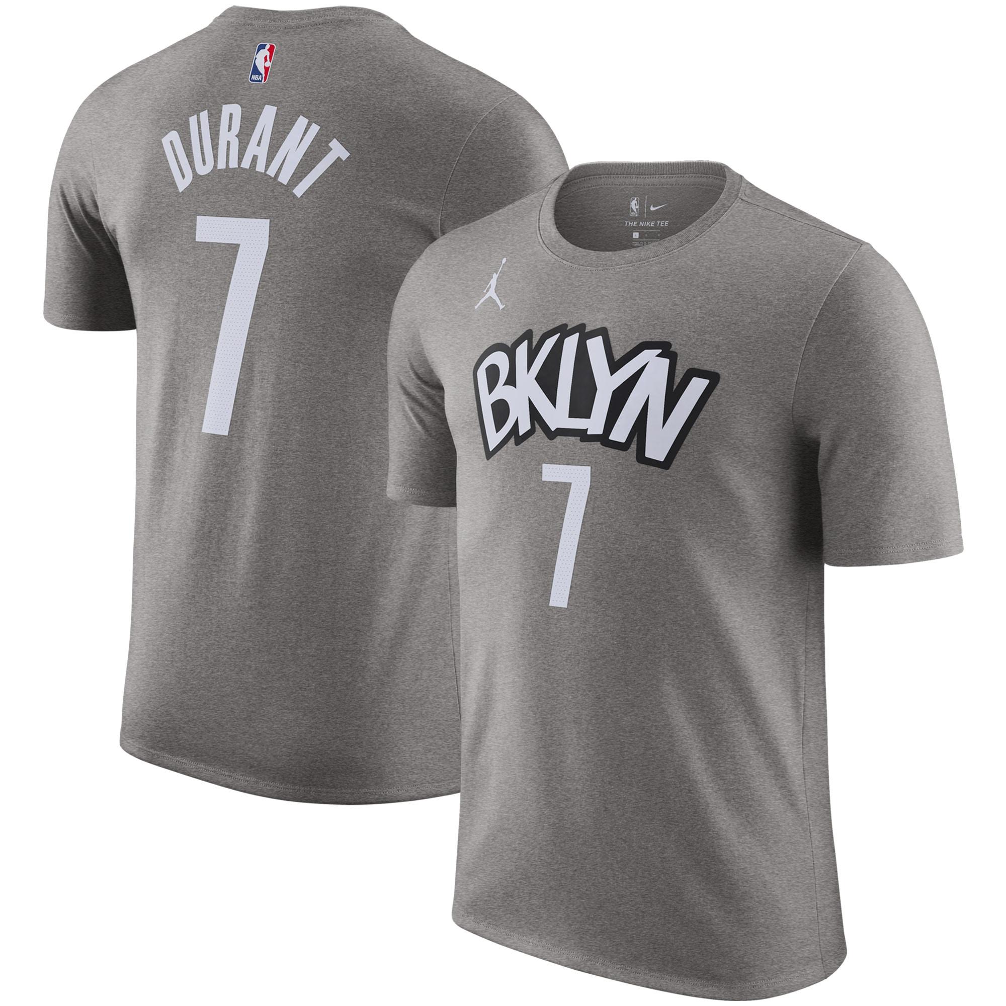 Brooklyn Nets Jordan Brand 2020/21 Kevin Durant Statement Name & Number T-Shirt - Gray