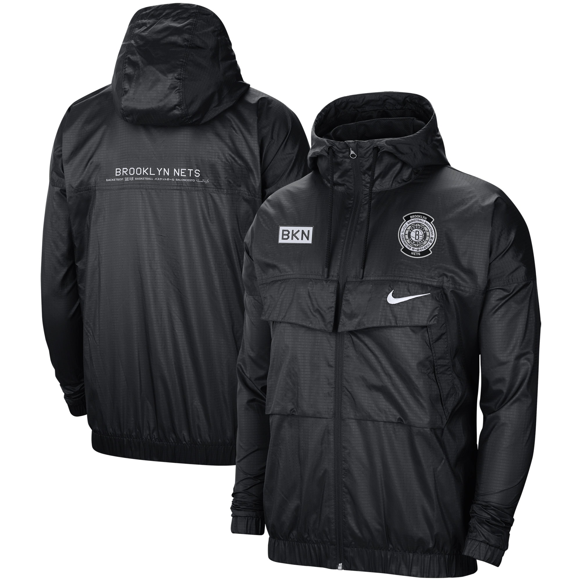 Brooklyn Nets Nike Courtside Global Exploration Lightweight Full-Zip Jacket - Black