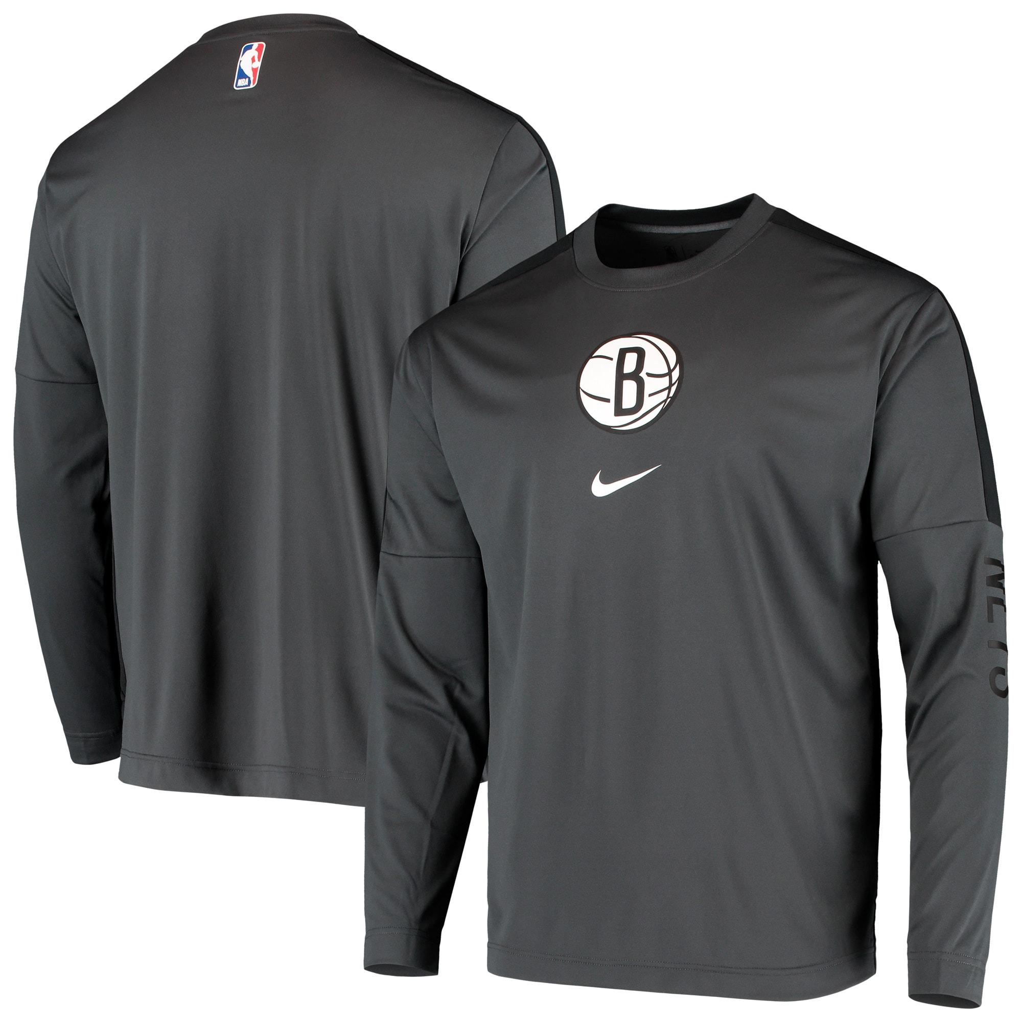 Brooklyn Nets Nike Long Sleeve Shooting Performance Shirt - Charcoal