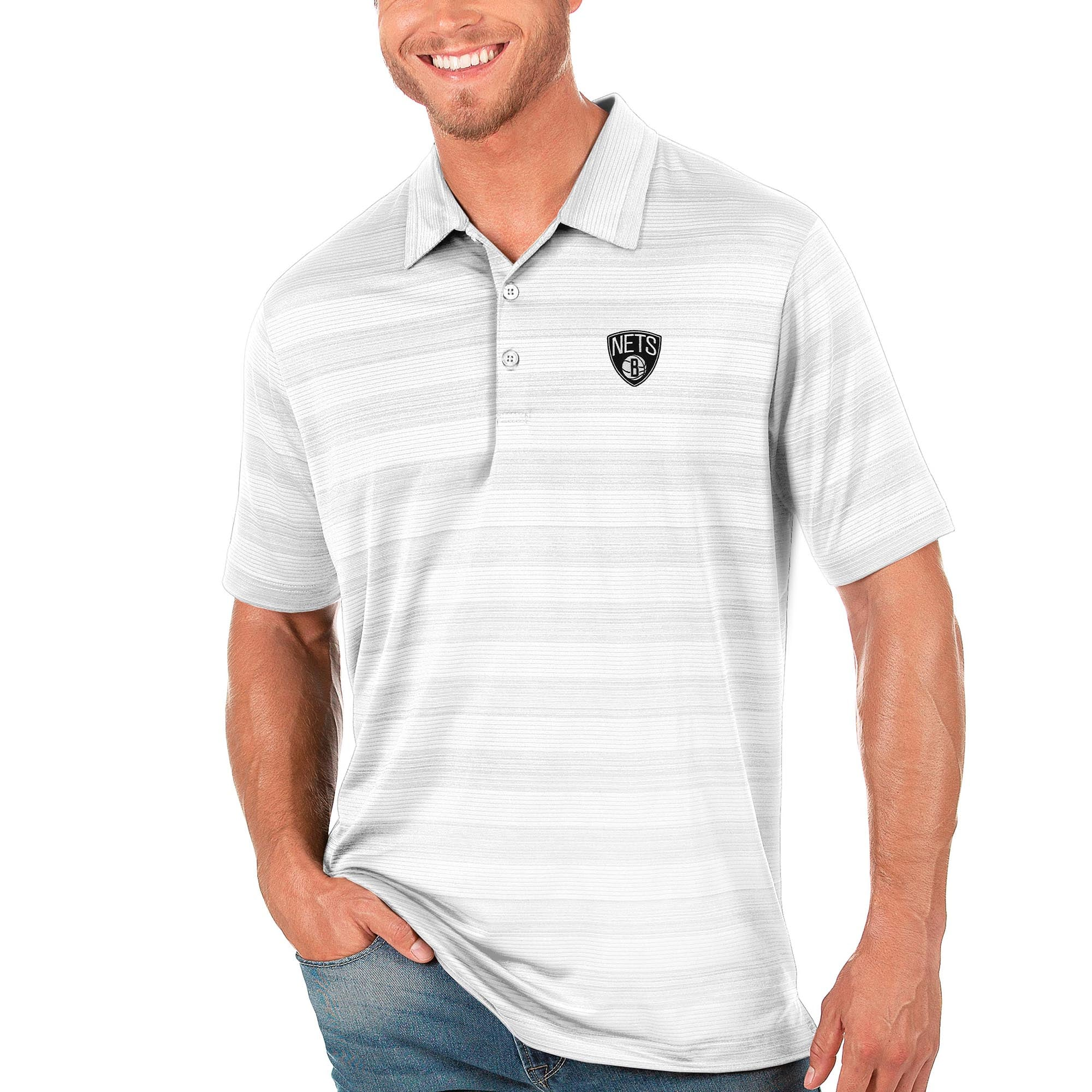 Brooklyn Nets Antigua Compass Polo - White