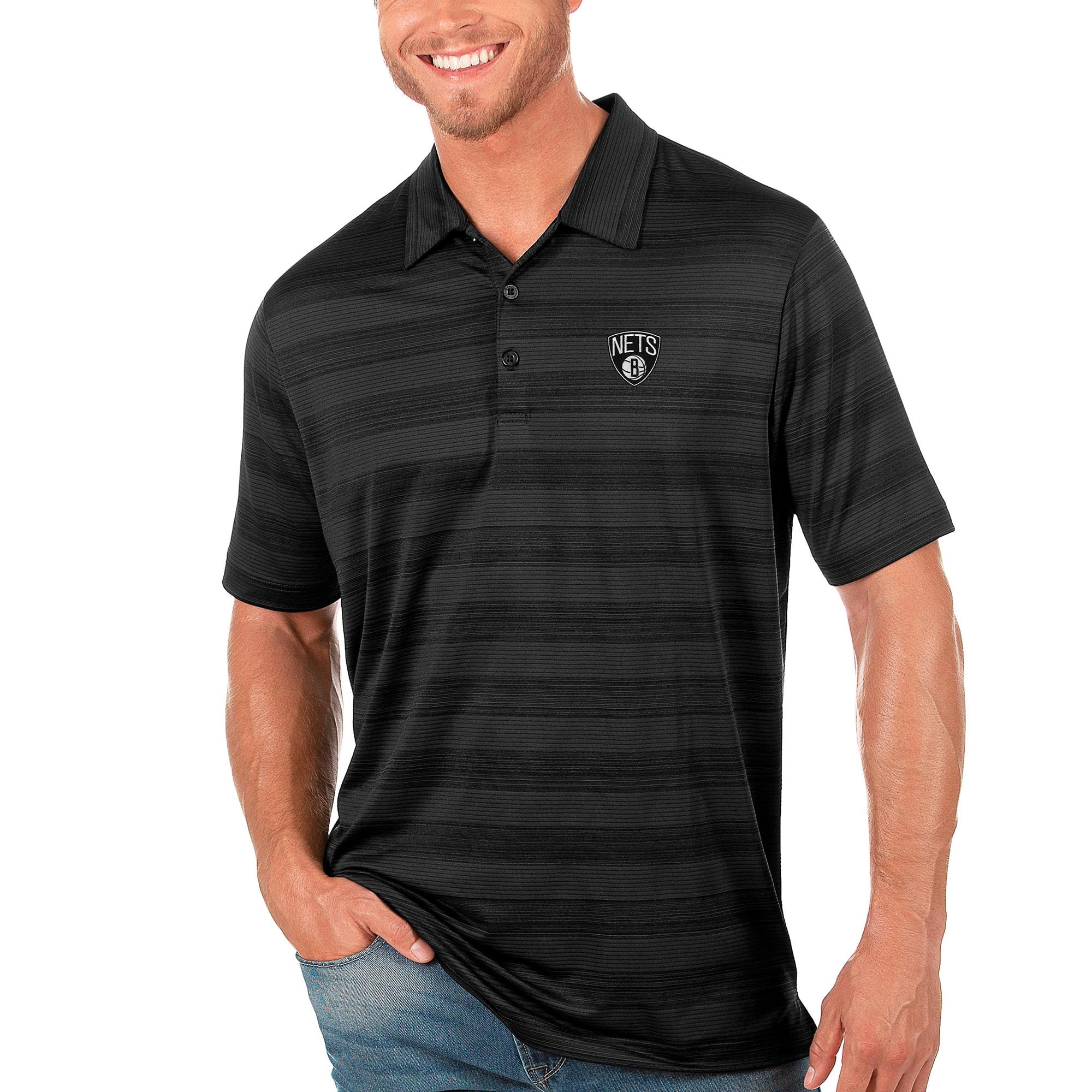 Brooklyn Nets Antigua Compass Polo - Black