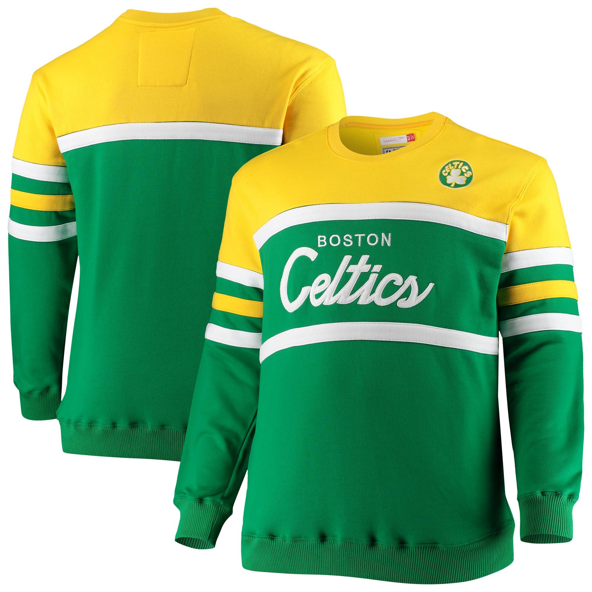 Boston Celtics Mitchell & Ness Big & Tall Hardwood Classics Head Coach Pullover Sweatshirt - Kelly Green