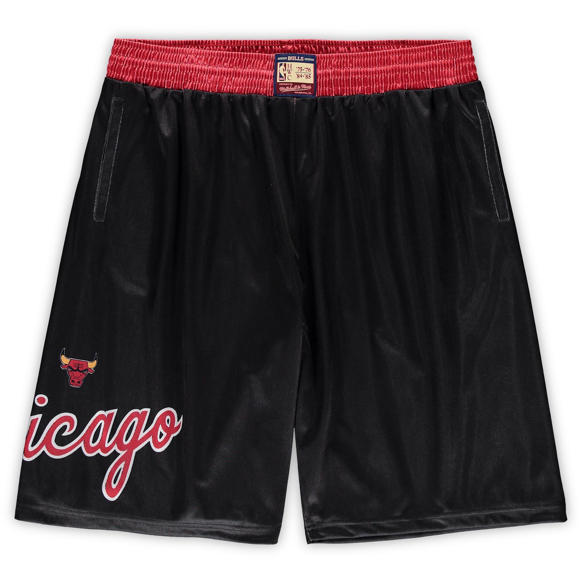 Chicago Bulls Mitchell & Ness Hardwood Classics Big & Tall Team Heritage Dazzle Shorts - Black