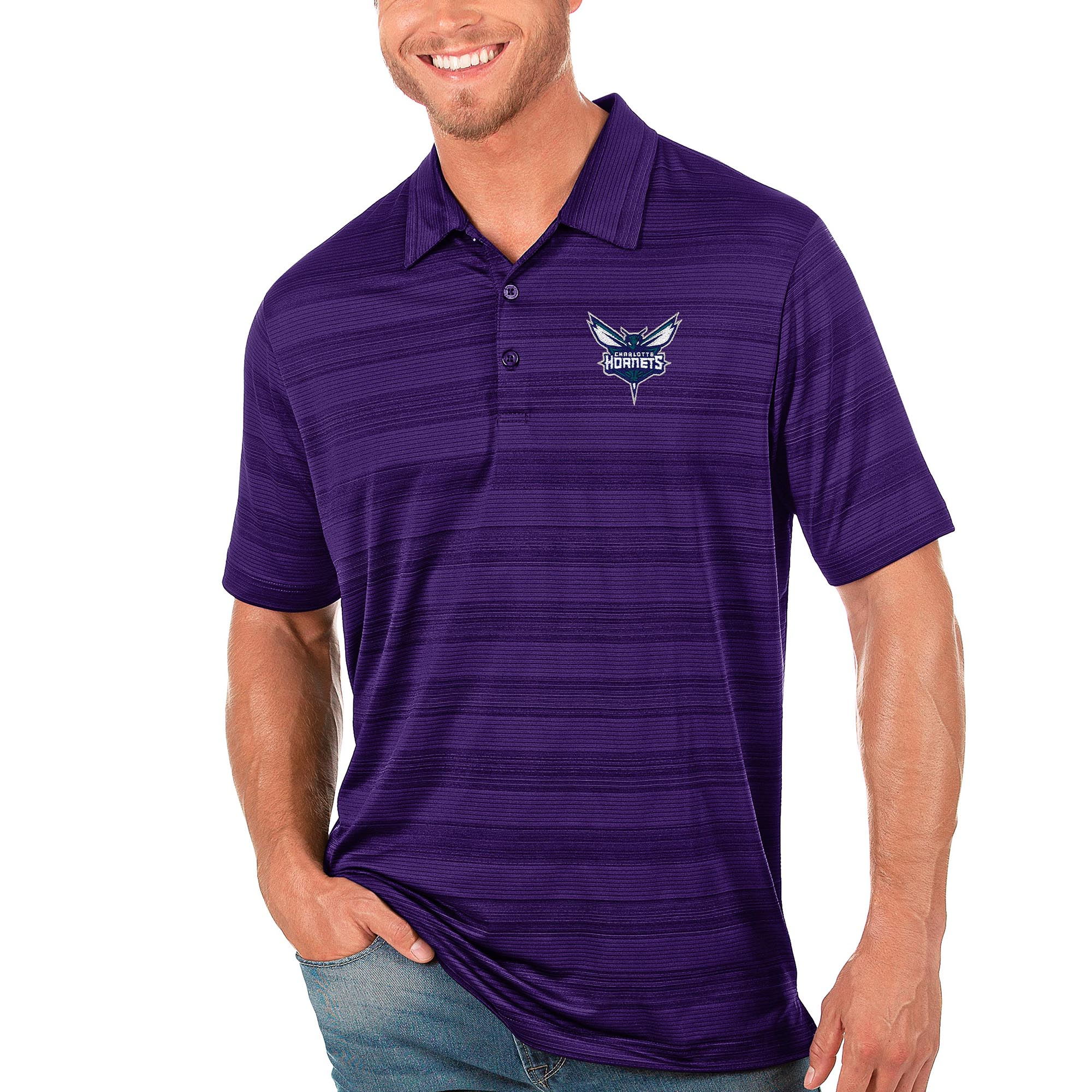 Charlotte Hornets Antigua Compass Polo - Purple
