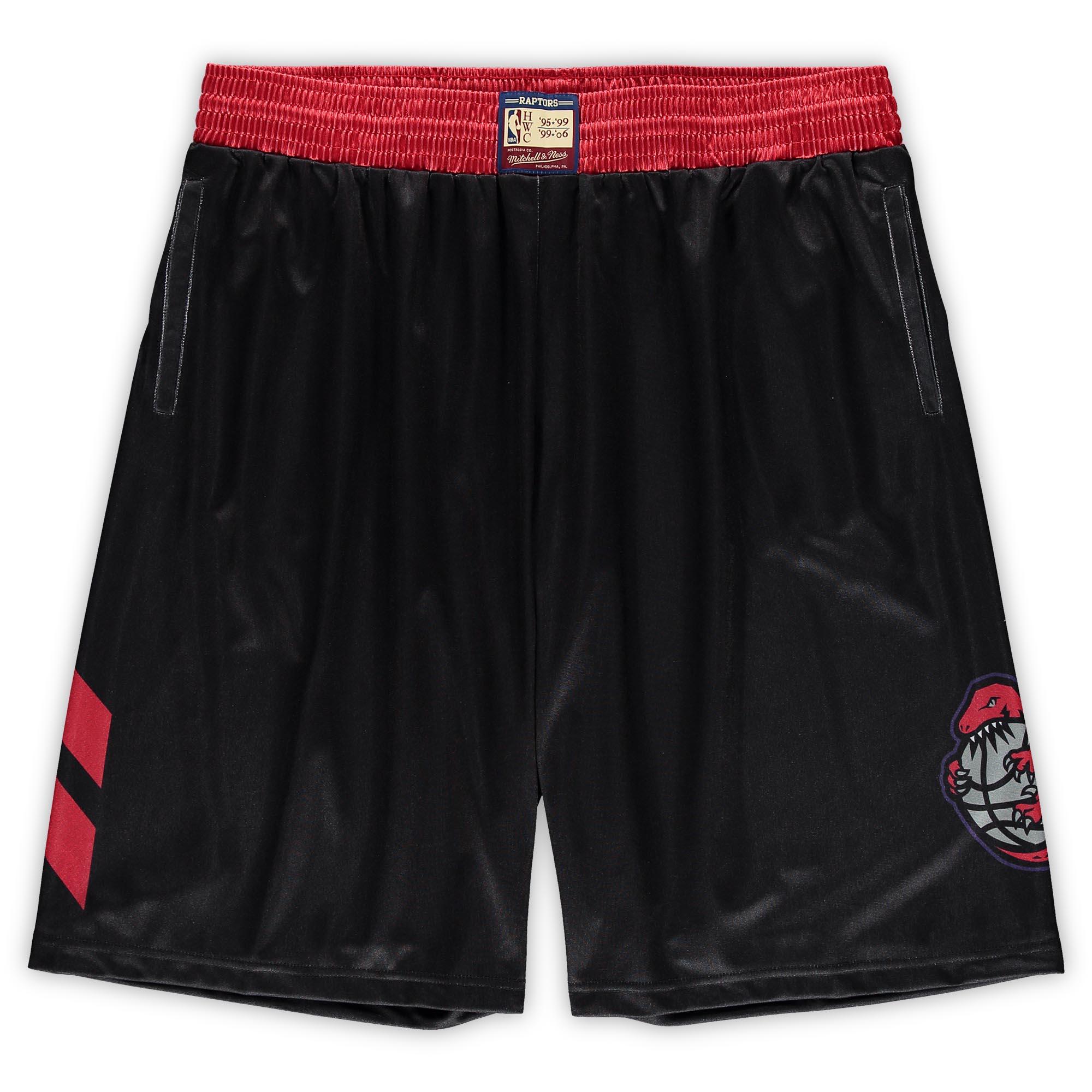 Toronto Raptors Mitchell & Ness Hardwood Classics Big & Tall Team Heritage Dazzle Shorts - Black