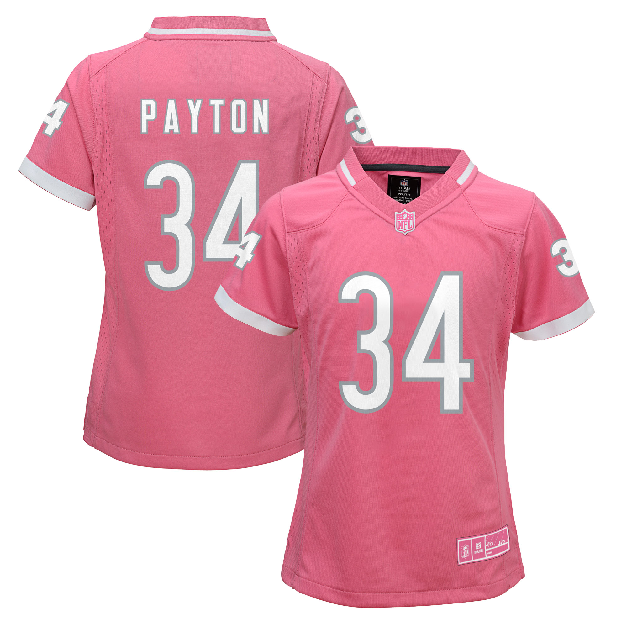 Walter Payton Chicago Bears Girls Youth Fashion Bubble Gum Jersey - Pink