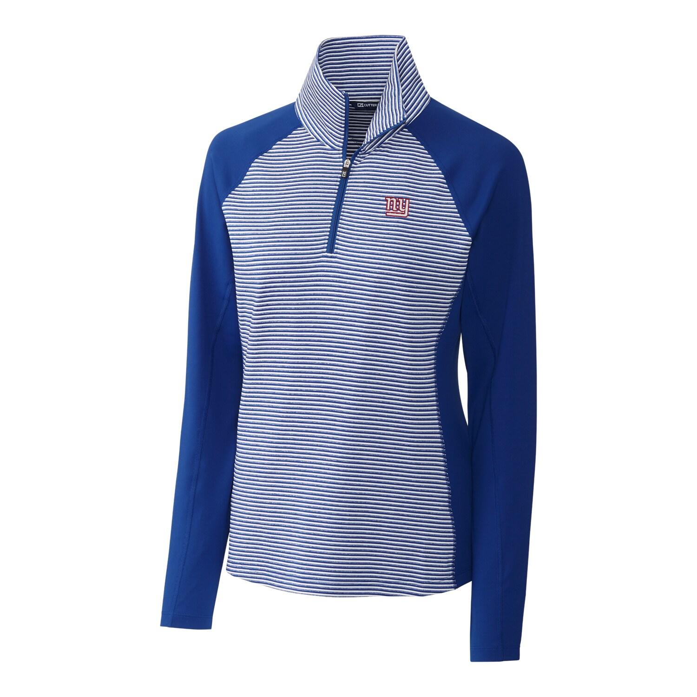 New York Giants Cutter & Buck Women's Forge Tonal Stripe Half-Zip Pullover Jacket - Blue