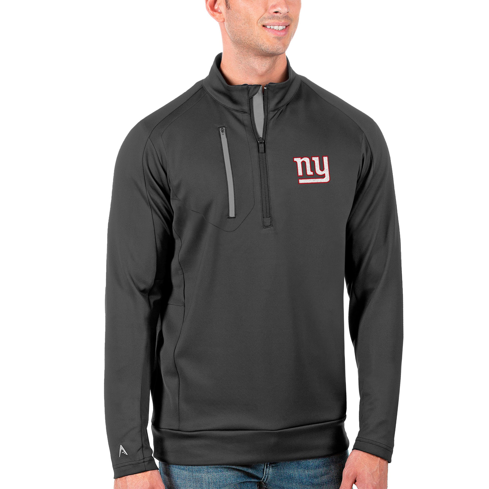 New York Giants Antigua Generation Quarter-Zip Pullover Jacket - Charcoal/Silver