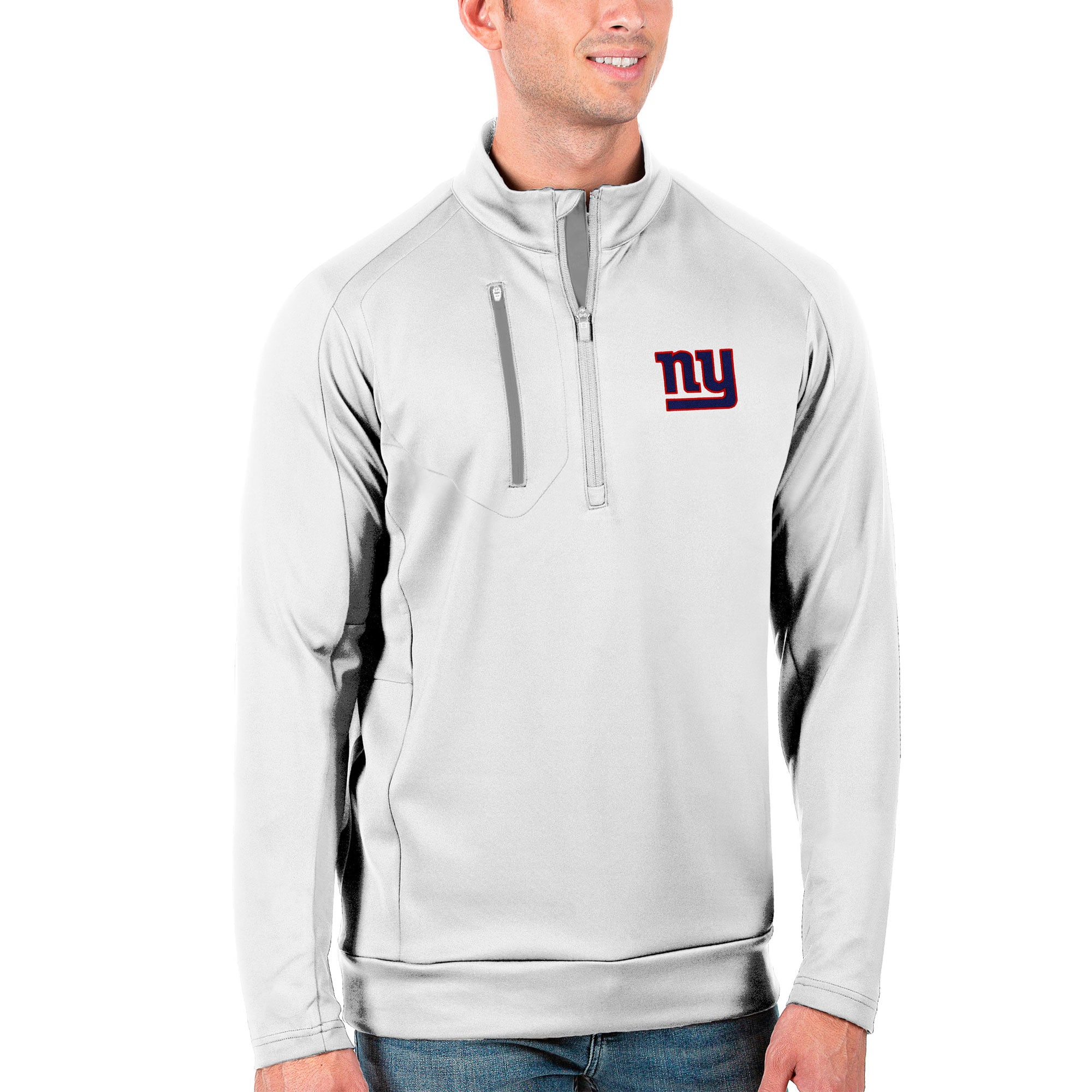 New York Giants Antigua Generation Quarter-Zip Pullover Jacket - White/Silver