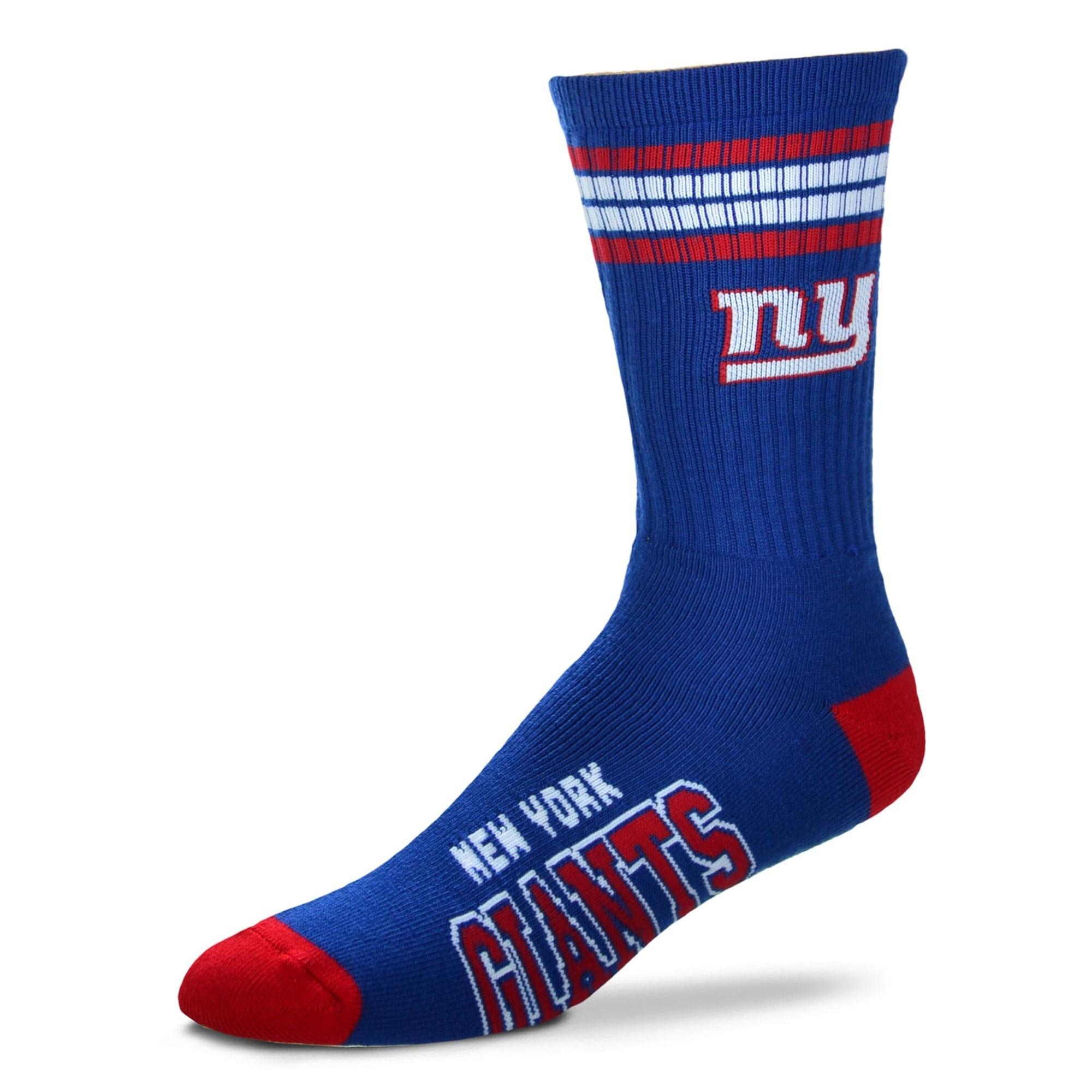 New York Giants For Bare Feet 4-Stripe Deuce Team Color Performance Crew Socks