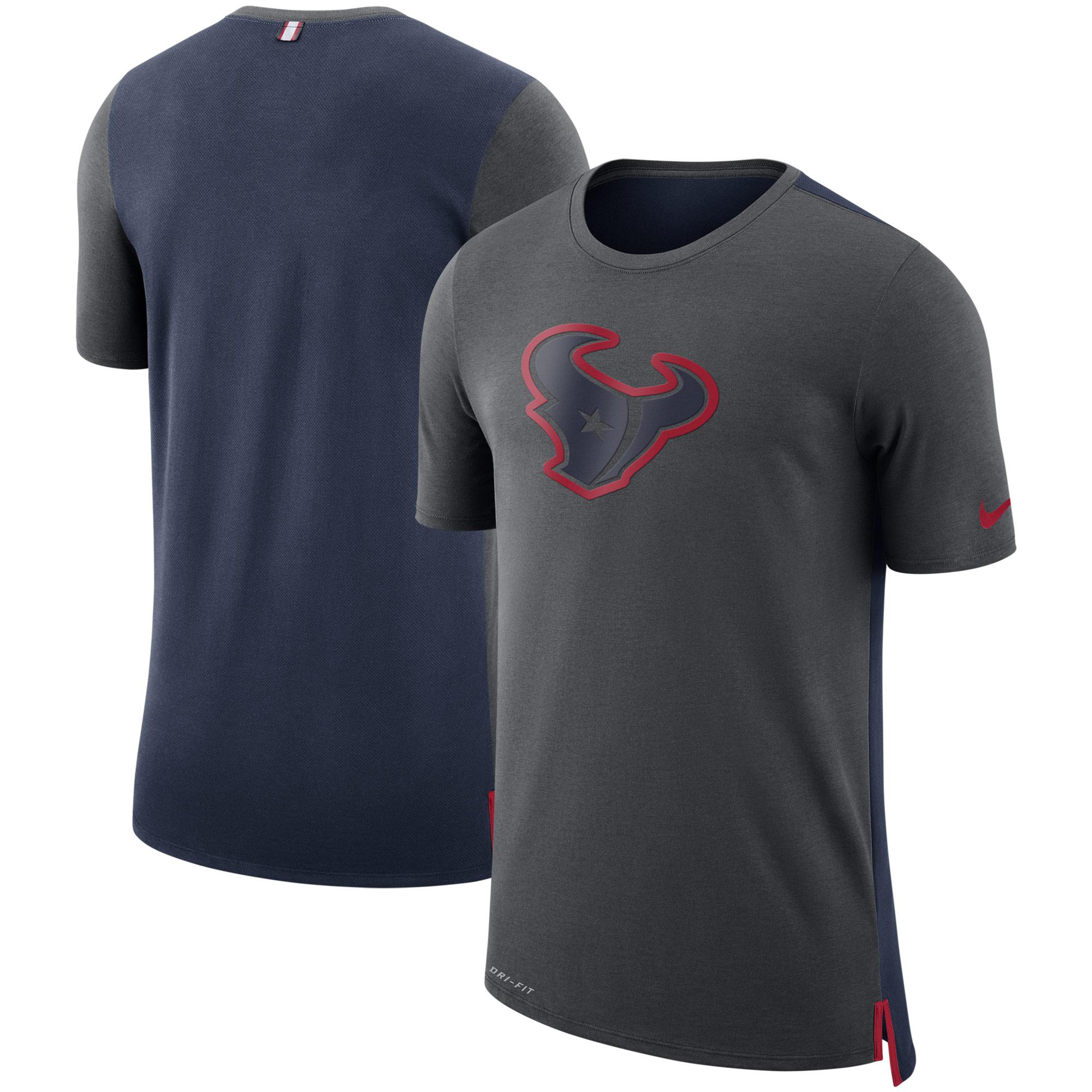 Houston Texans Nike Sideline Travel Mesh Performance T-Shirt - Charcoal/Navy