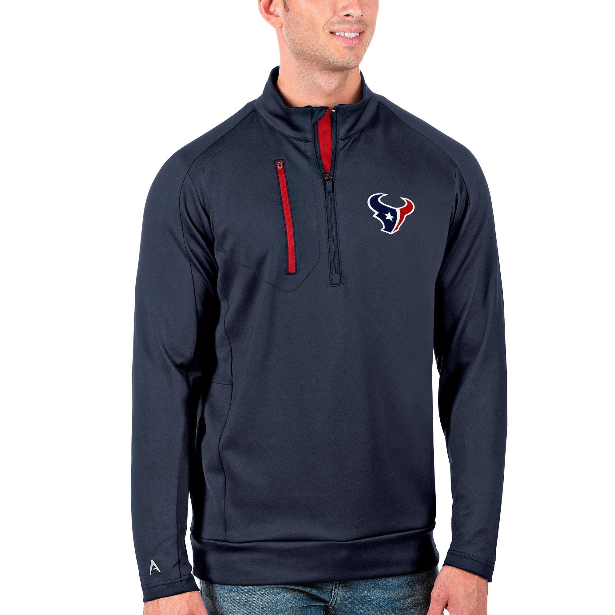 Houston Texans Antigua Generation Quarter-Zip Pullover Jacket - Navy/Red