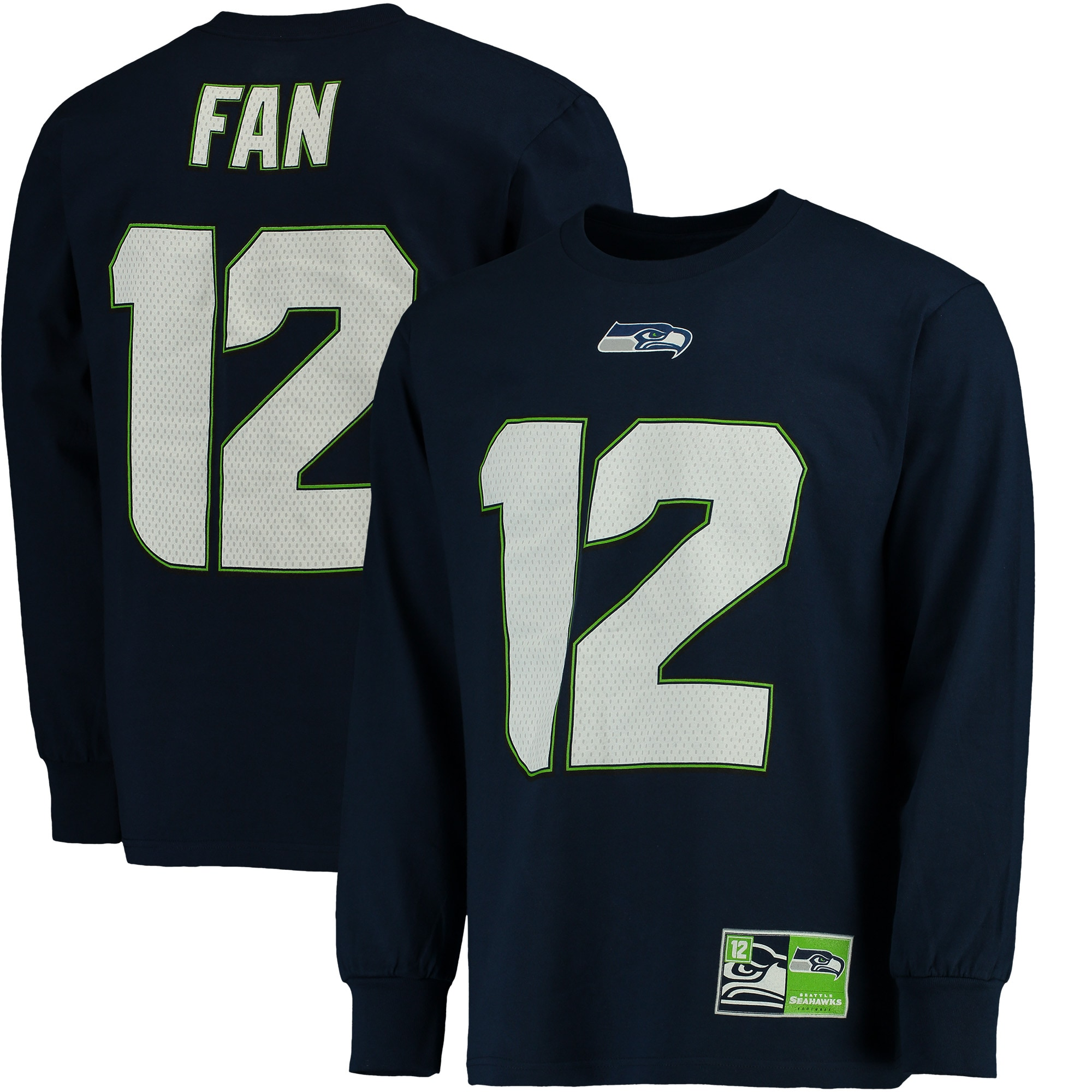 12s Seattle Seahawks Majestic Big & Tall Eligible Receiver Name & Number Long Sleeve T-Shirt - College Navy