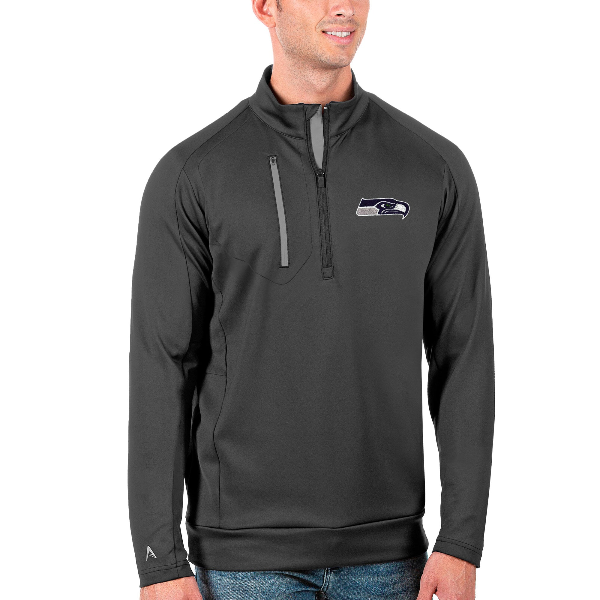 Seattle Seahawks Antigua Generation Quarter-Zip Pullover Jacket - Charcoal/Silver