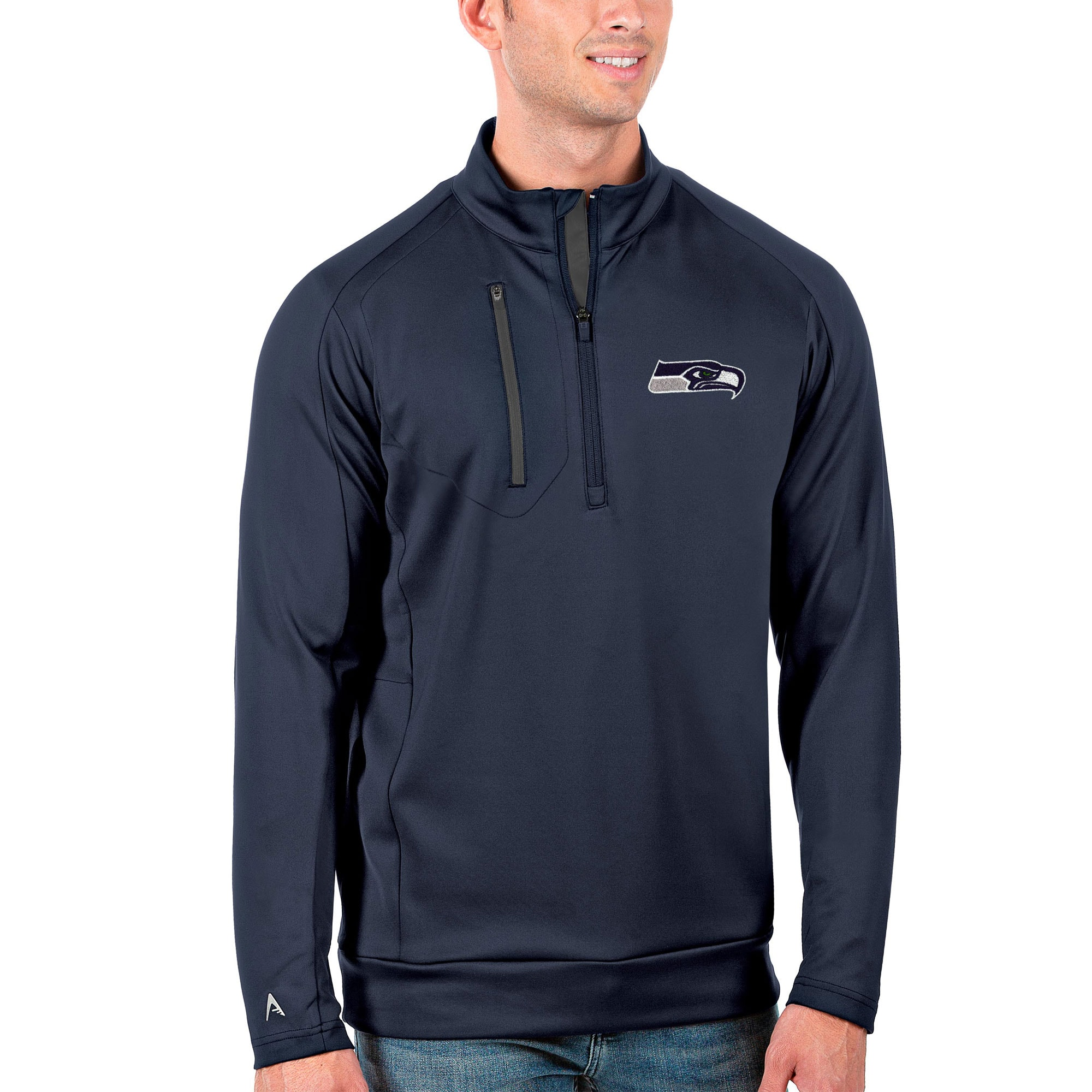 Seattle Seahawks Antigua Generation Quarter-Zip Pullover Jacket - Navy/Charcoal