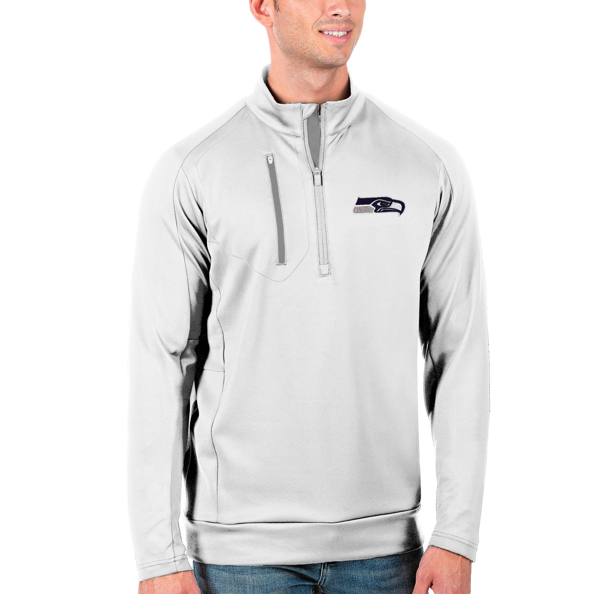 Seattle Seahawks Antigua Generation Quarter-Zip Pullover Jacket - White/Silver