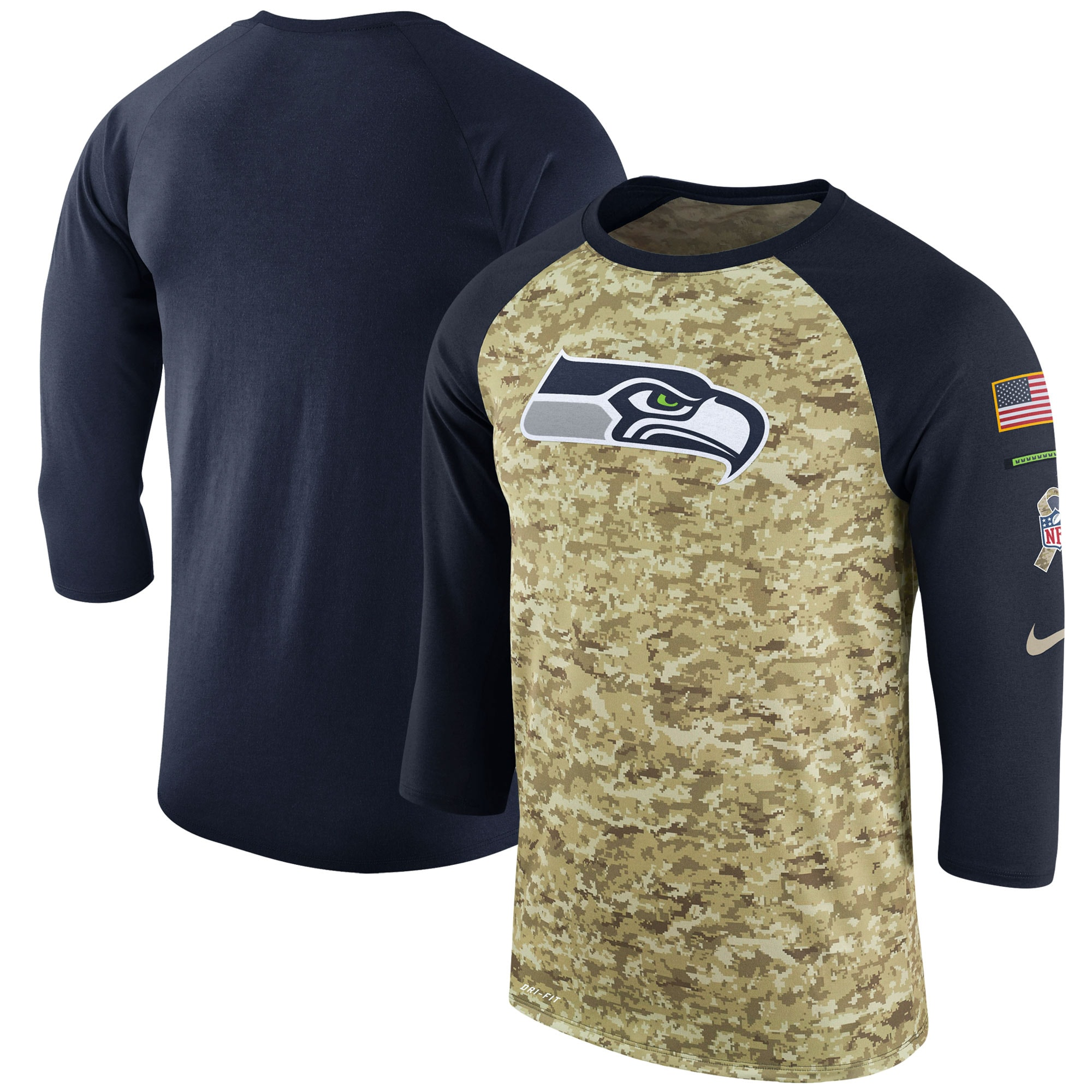 Seattle Seahawks Nike Salute to Service Sideline Legend Performance Three-Quarter Sleeve T-Shirt - Camo/College Navy