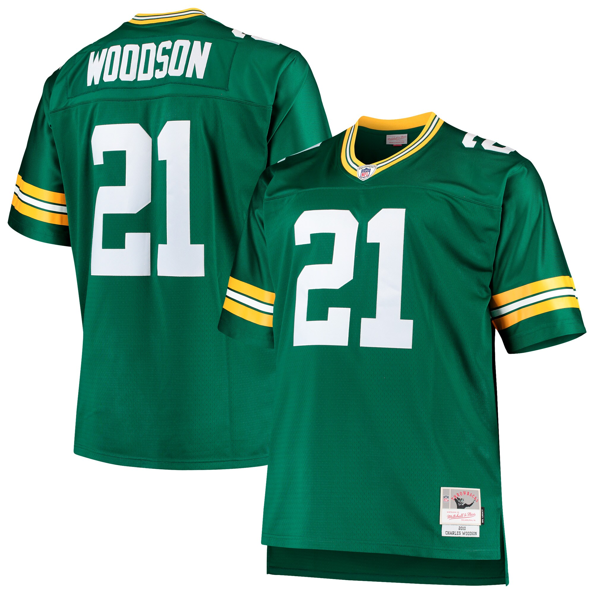 Charles Woodson Green Bay Packers Mitchell & Ness Big & Tall 2010 Retired Player Replica Jersey - Green