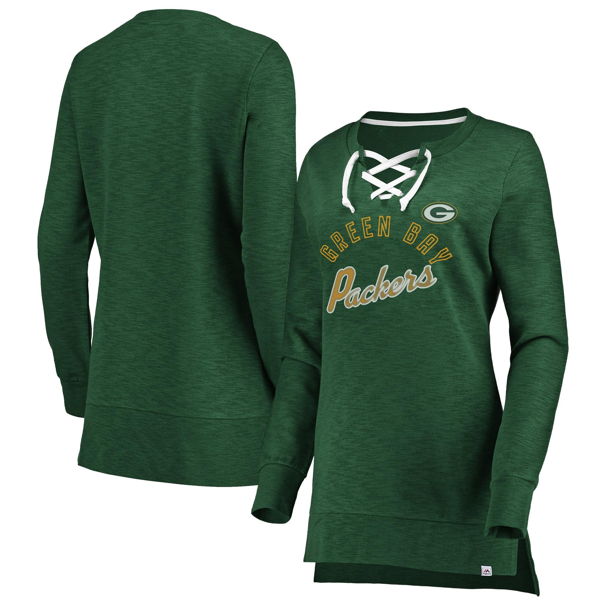 Green Bay Packers Majestic Women's Hyper Lace-Up Tunic Sweatshirt - Green