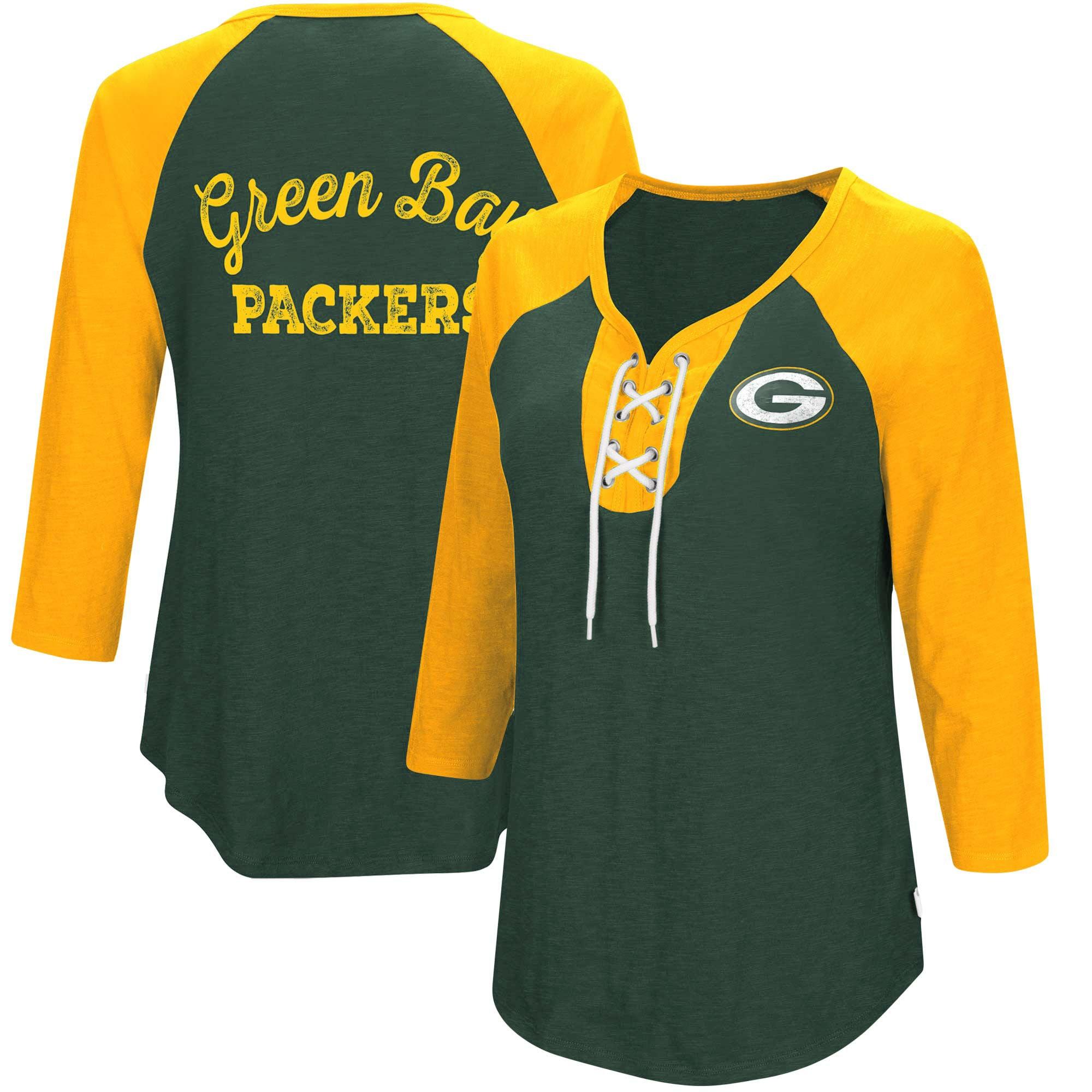 Green Bay Packers Touch by Alyssa Milano Women's Home Run Raglan T-Shirt - Green/Gold