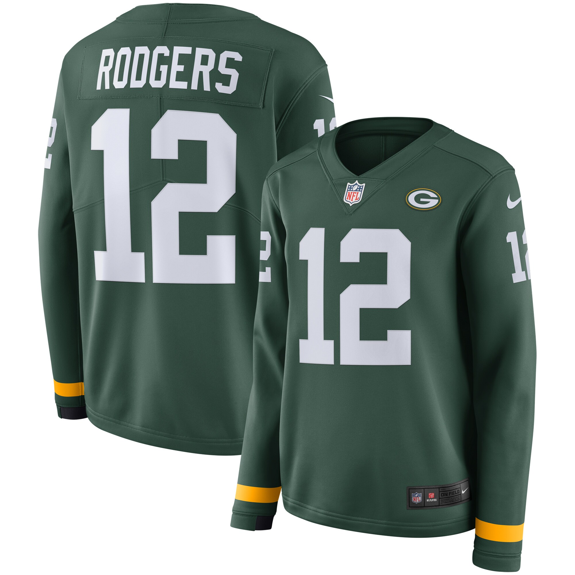Aaron Rodgers Green Bay Packers Nike Women's Therma Long Sleeve Jersey - Green