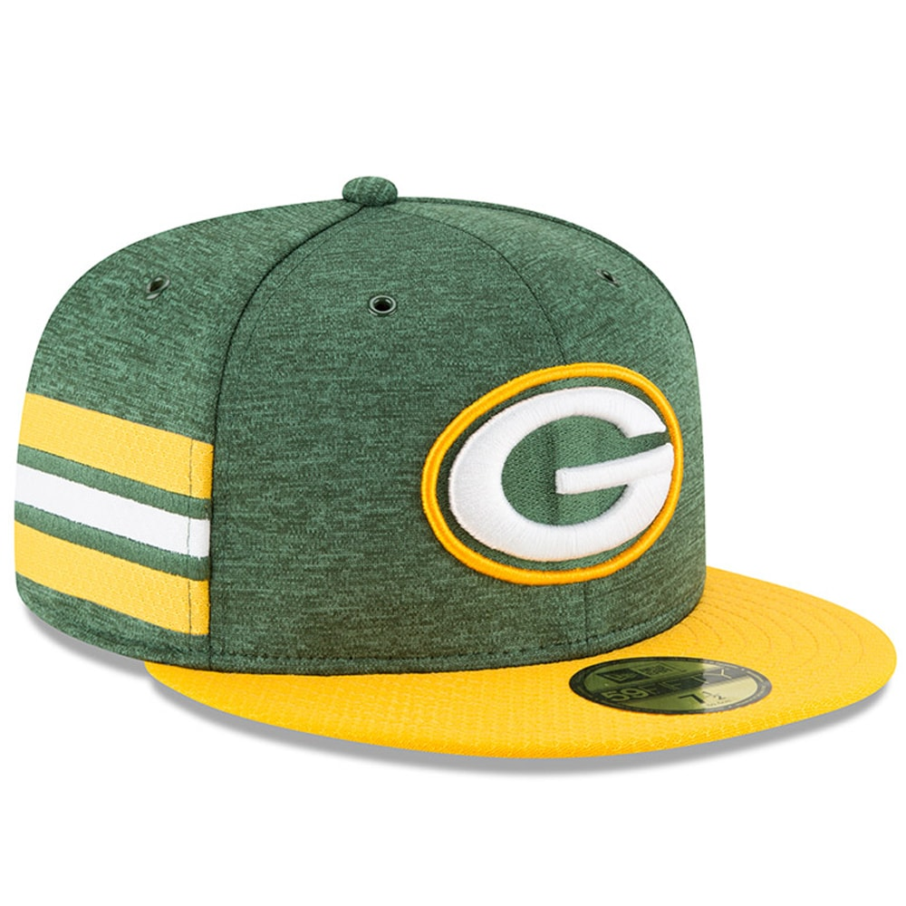 Green Bay Packers New Era 2018 NFL Sideline Home Official 59FIFTY Fitted Hat - Green/Gold