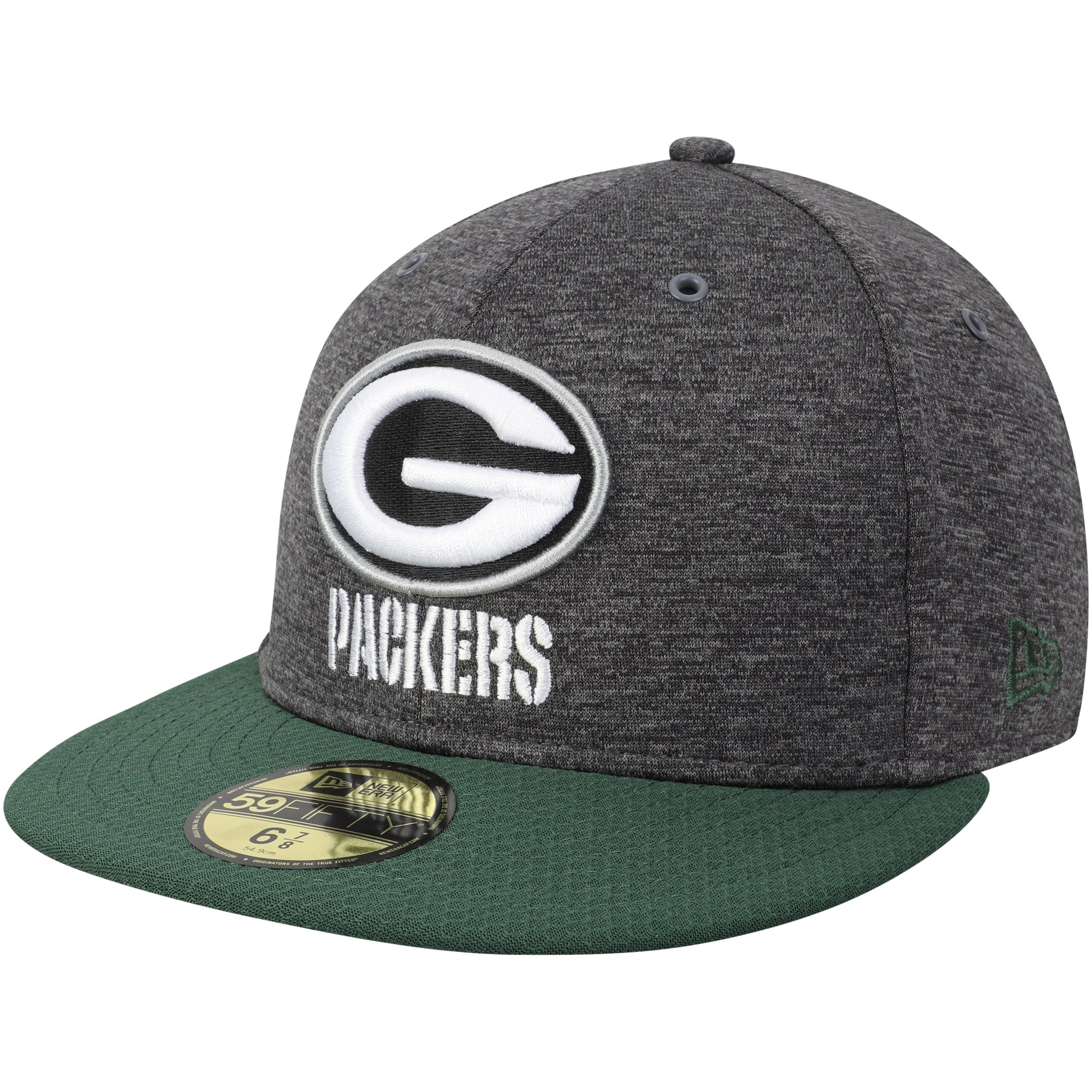 Green Bay Packers New Era 2018 NFL Sideline Home Graphite 59FIFTY Fitted Hat - Heather Gray/Green