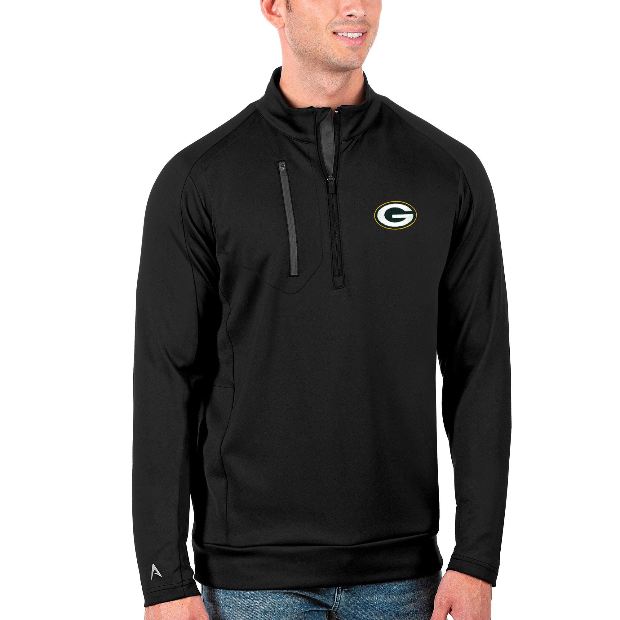 Green Bay Packers Antigua Generation Quarter-Zip Pullover Jacket - Black/Charcoal