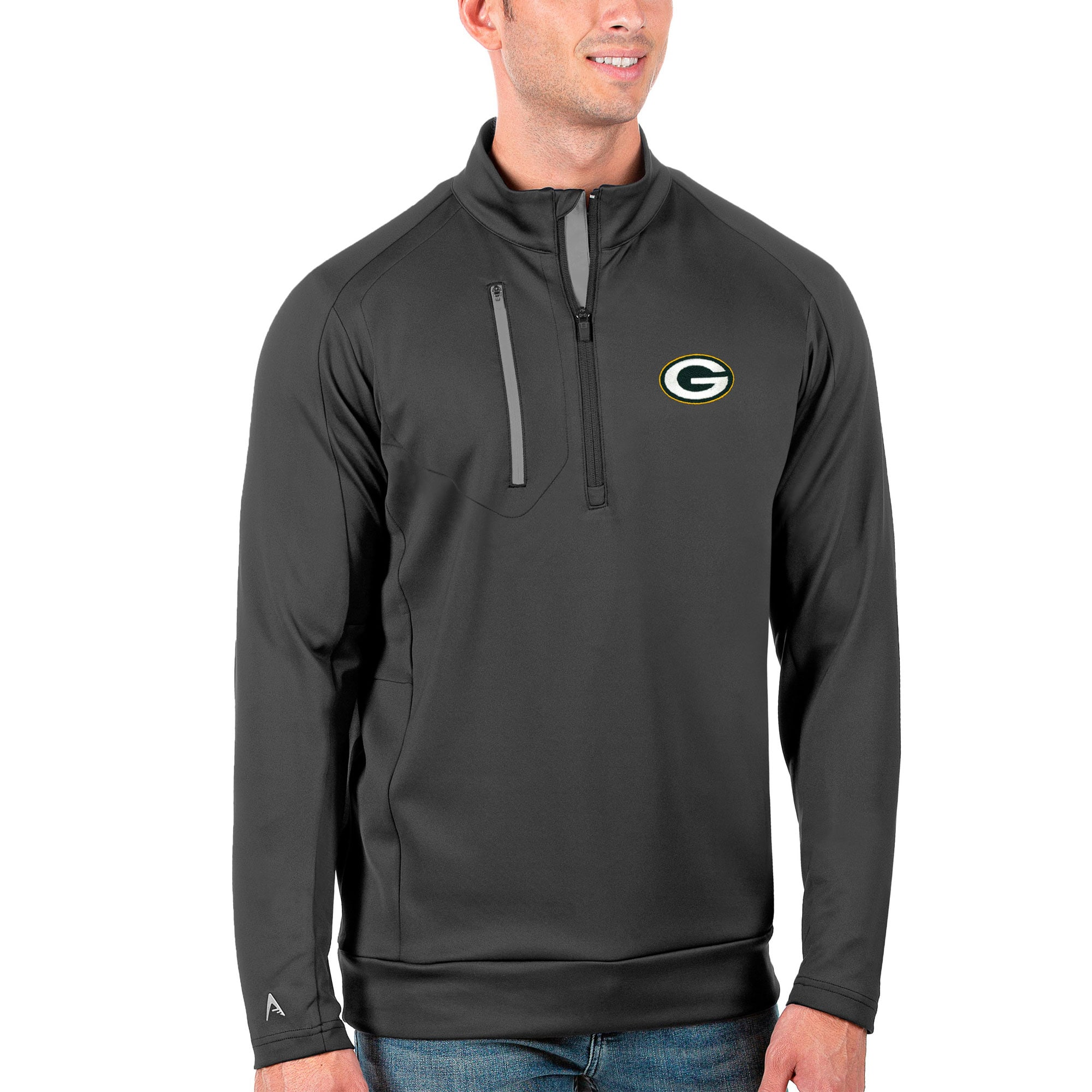 Green Bay Packers Antigua Generation Quarter-Zip Pullover Jacket - Charcoal/Silver