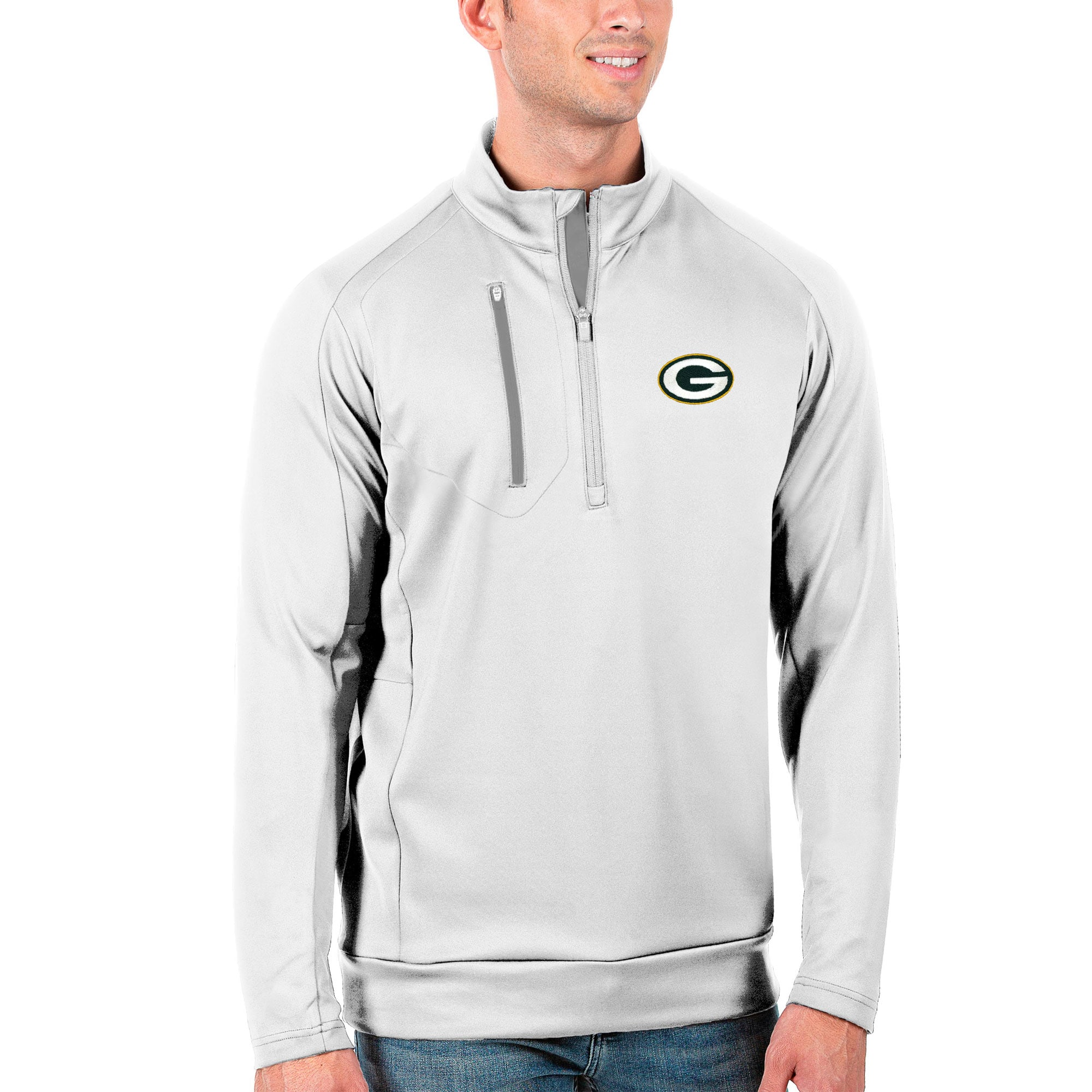 Green Bay Packers Antigua Generation Quarter-Zip Pullover Jacket - White/Silver